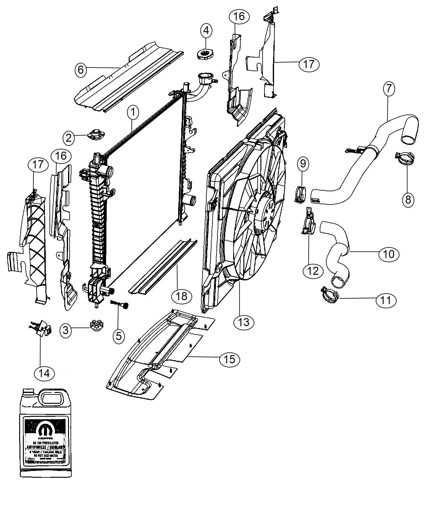 Dodge Magnum Seal Radiator Upper Export Front End
