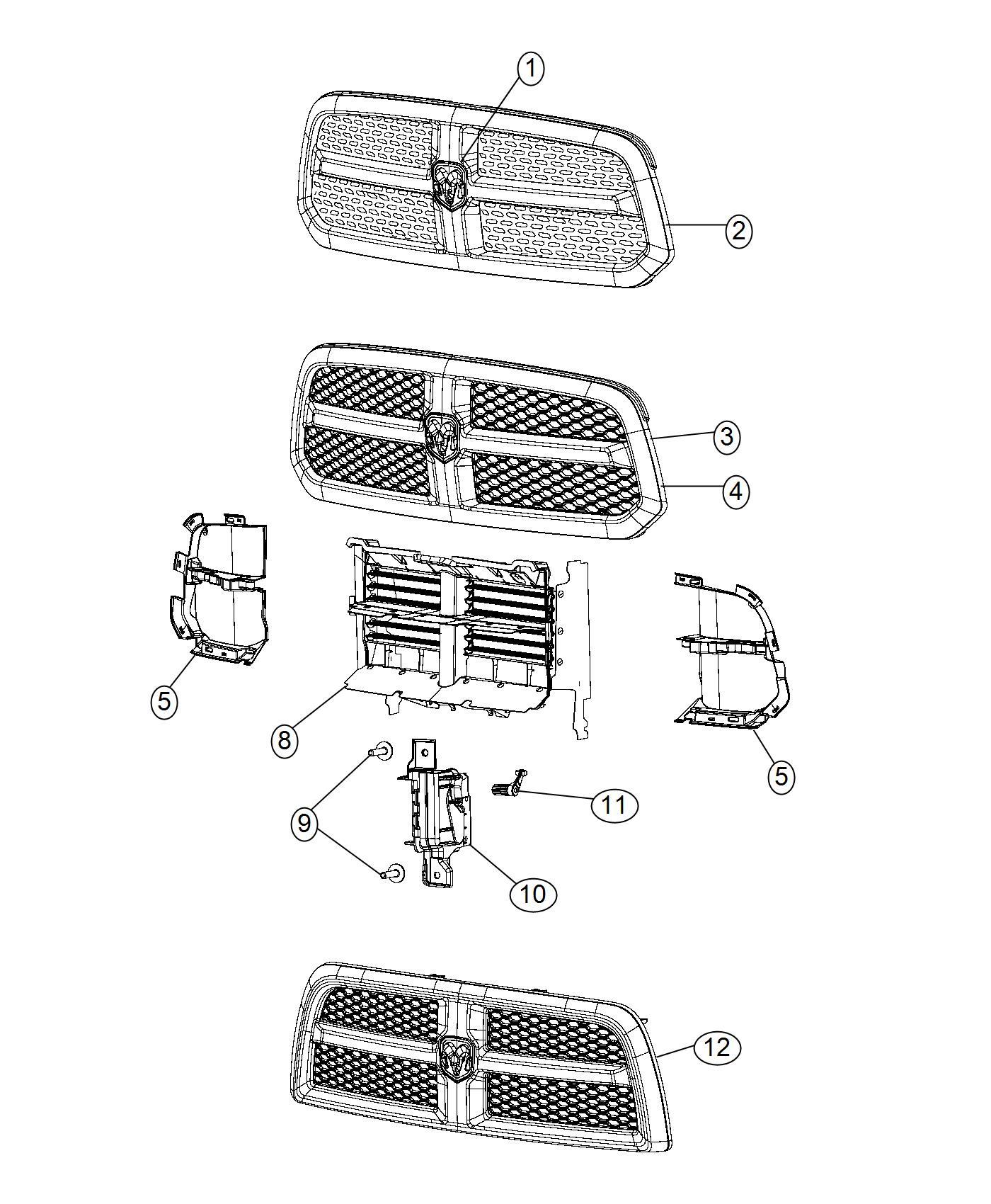 Dodge Ram Grille Radiator Front End Module