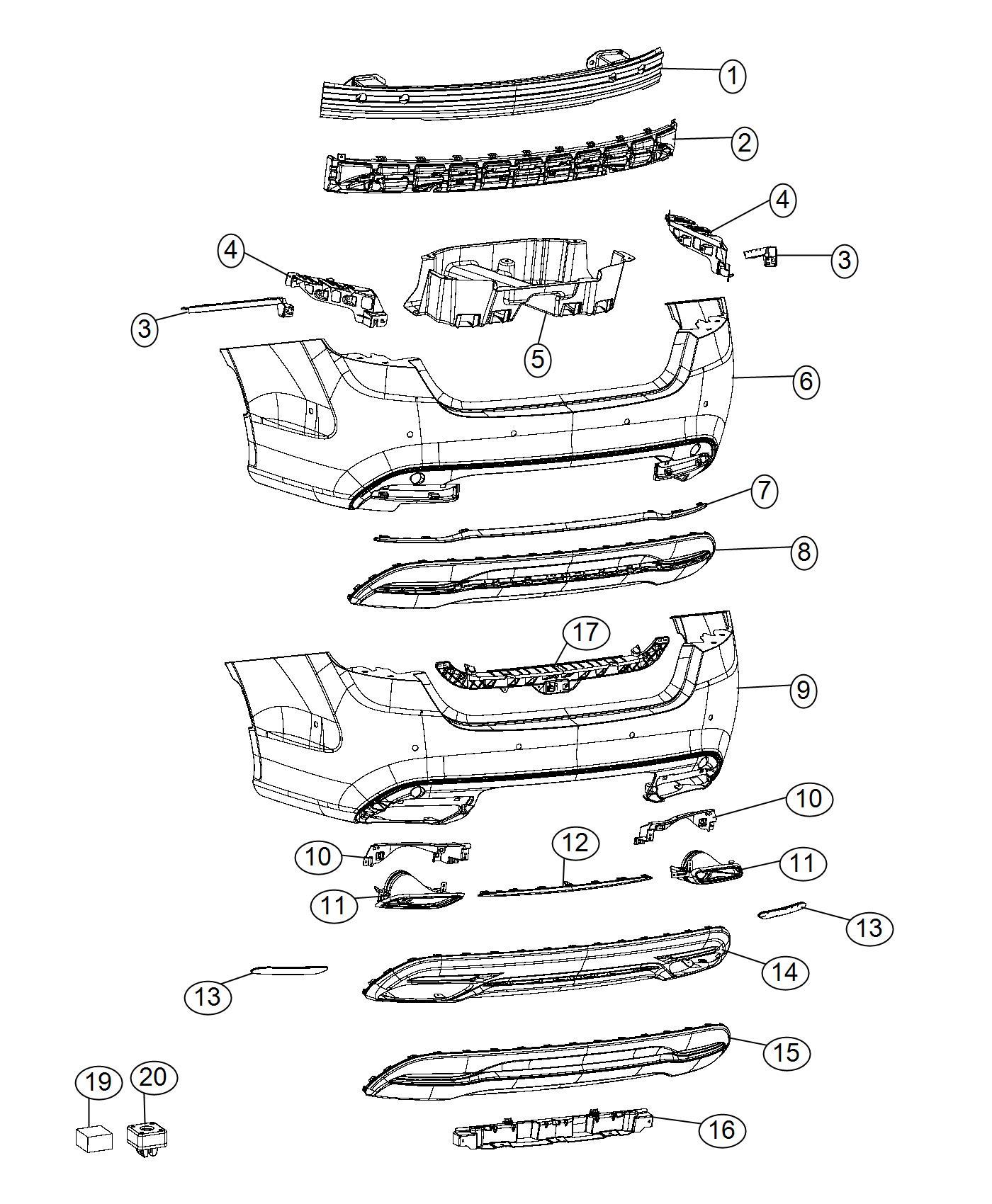 Chrysler 200 Fascia Rear Lower Ne8 X8w Ne8