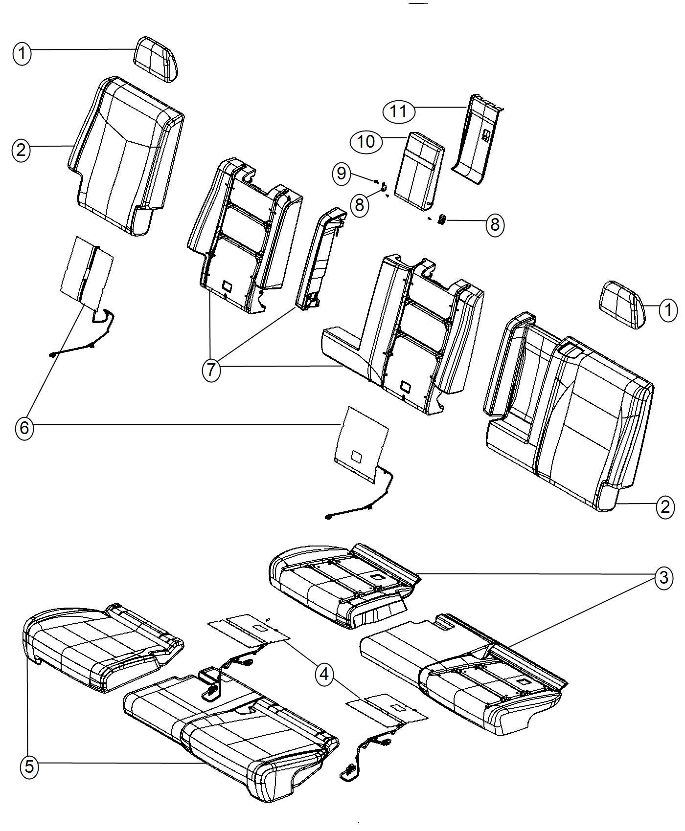 Dodge Durango Cover Rear Seat Cushion 2nd Row Right