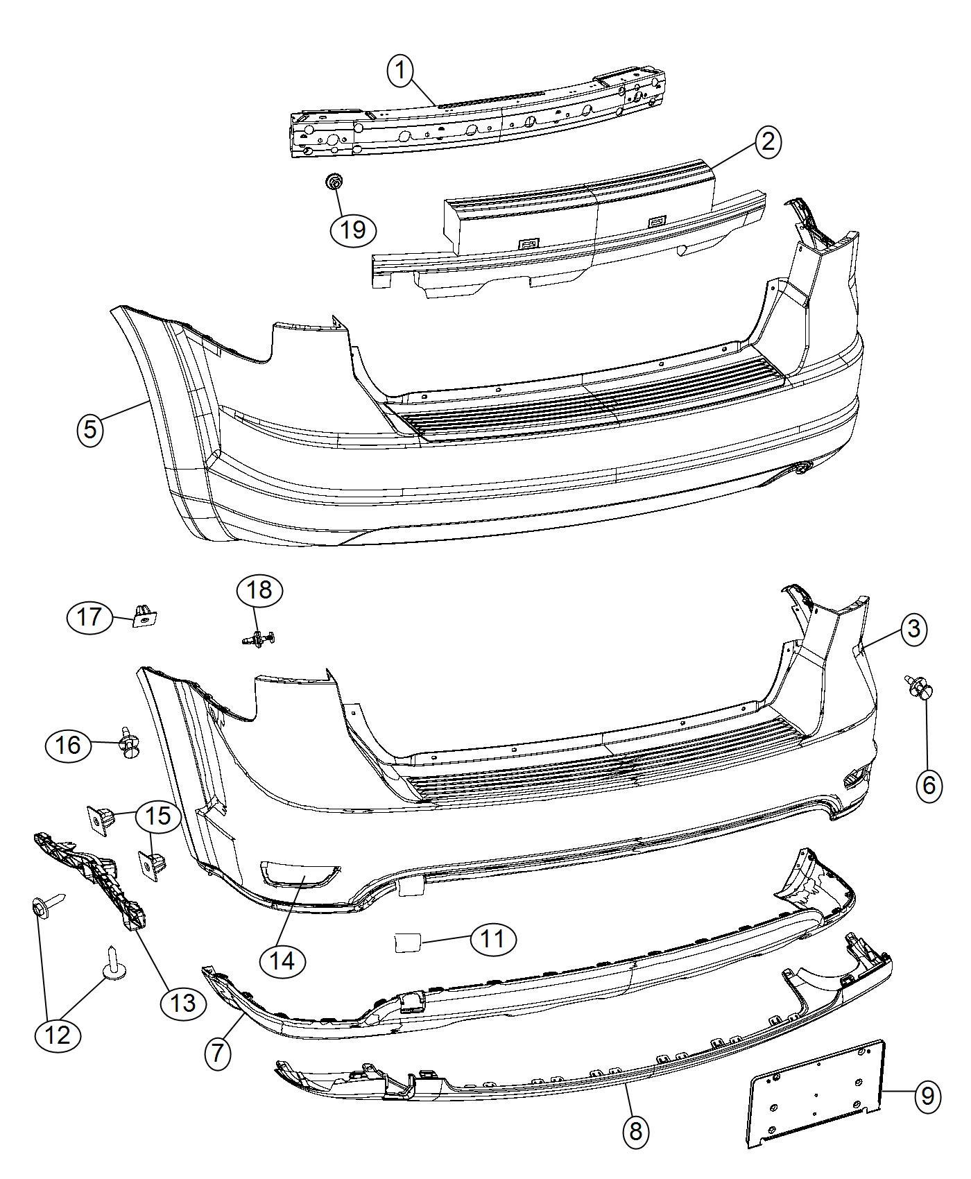 Dodge Journey Applique Fascia Rear Fascias Mcd