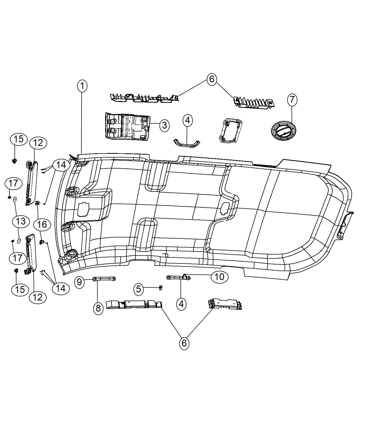 Dodge Journey Visor Right Trim O0 Color O0 Rear Overhead Visors