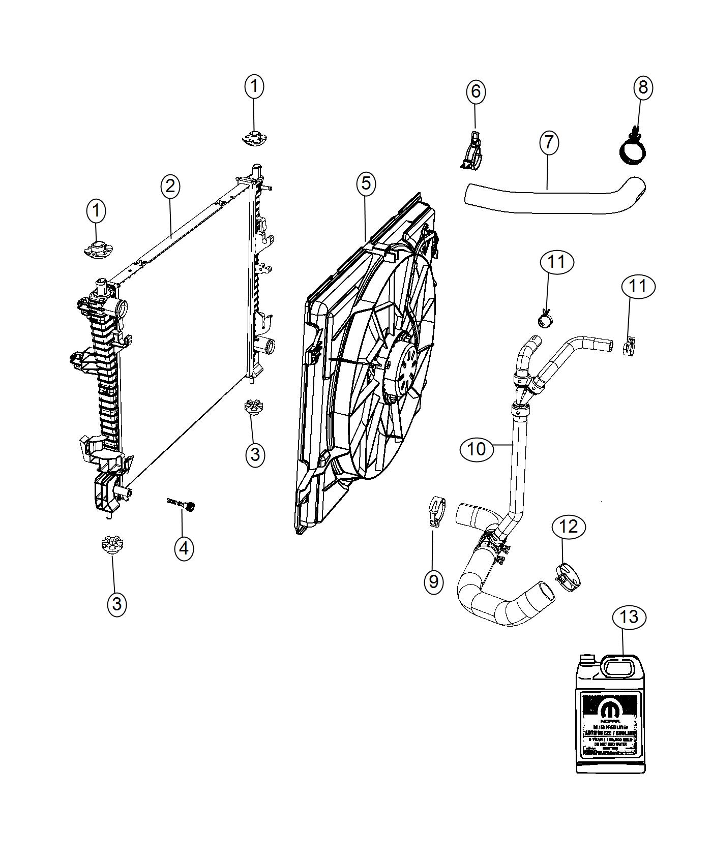 Dodge Durango Radiator Engine Cooling End Module Front