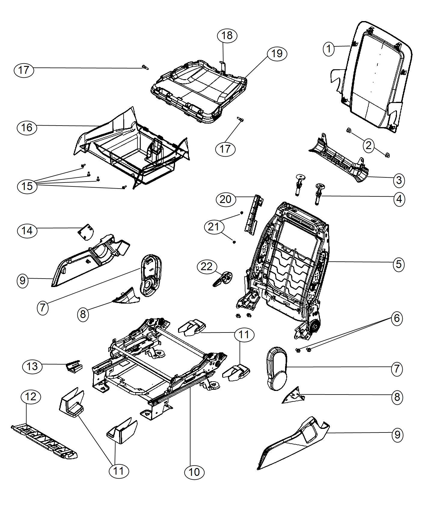 Dodge Journey Shield Inboard Seat Trim Hl Color X9