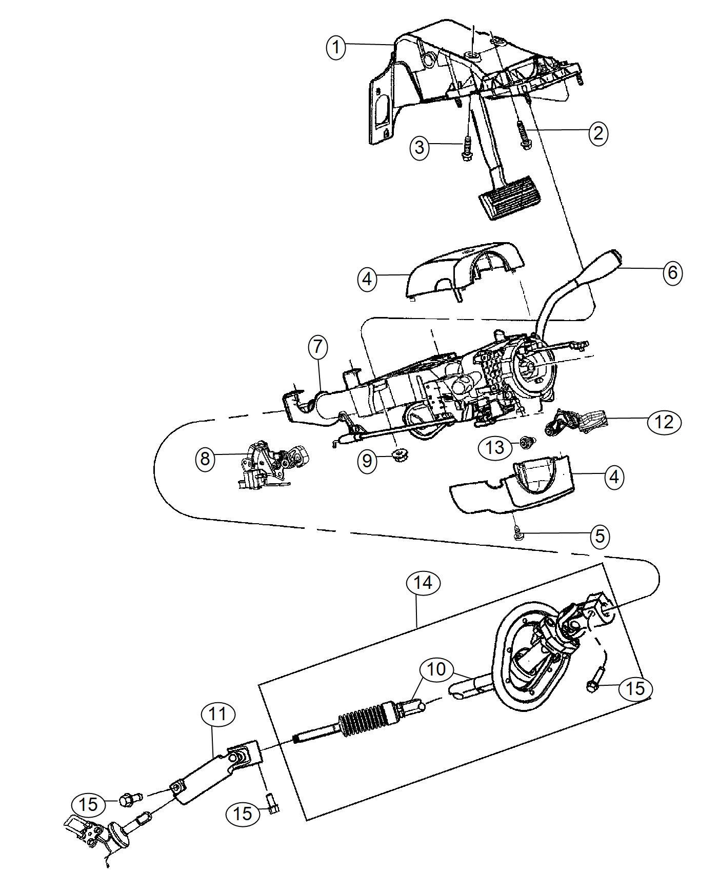 Ram Shaft Lower Steering Column Intermediate Suspension Mopar Assembly