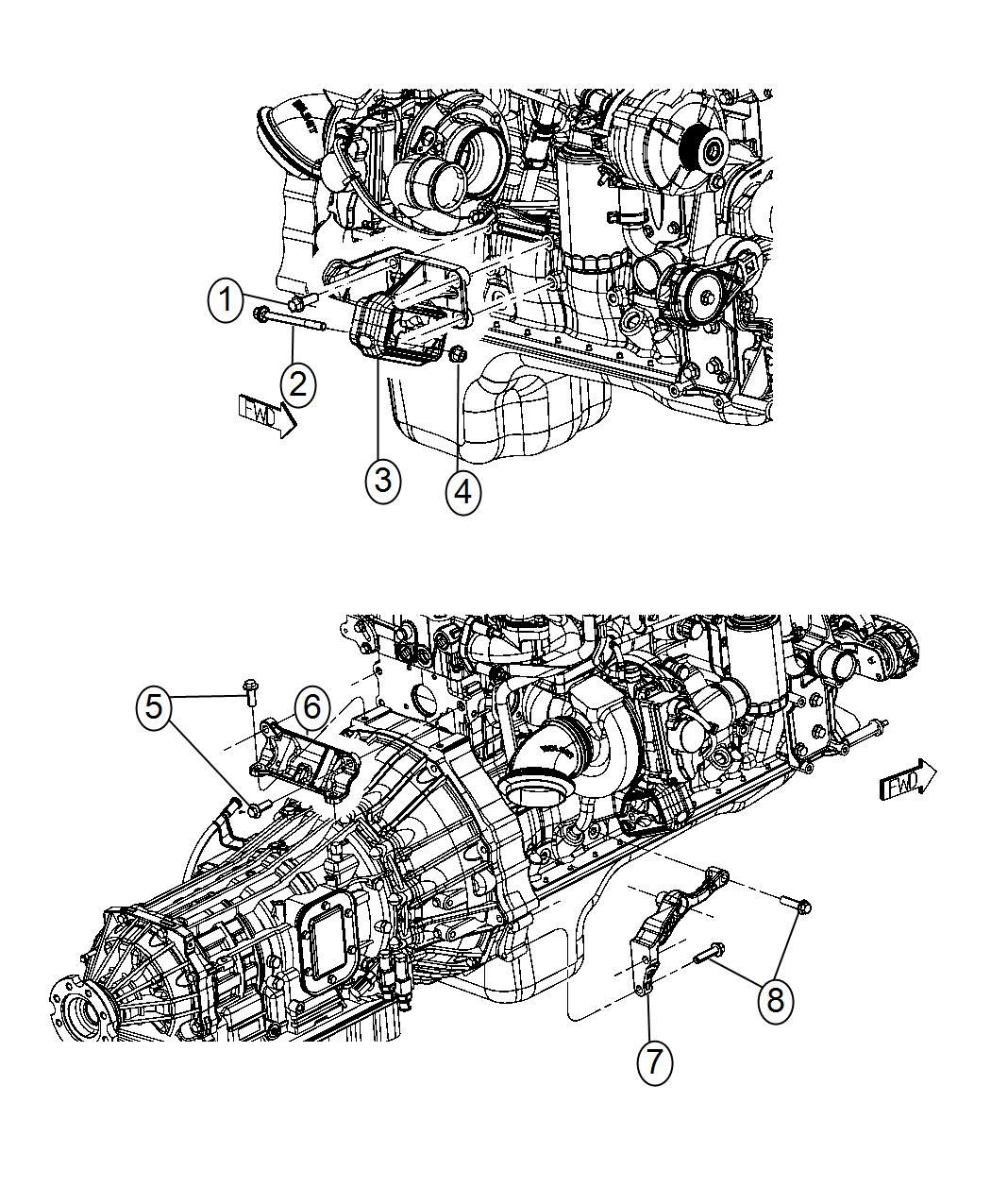 Ram Bracket Engine Mount Right Side 6 Speed