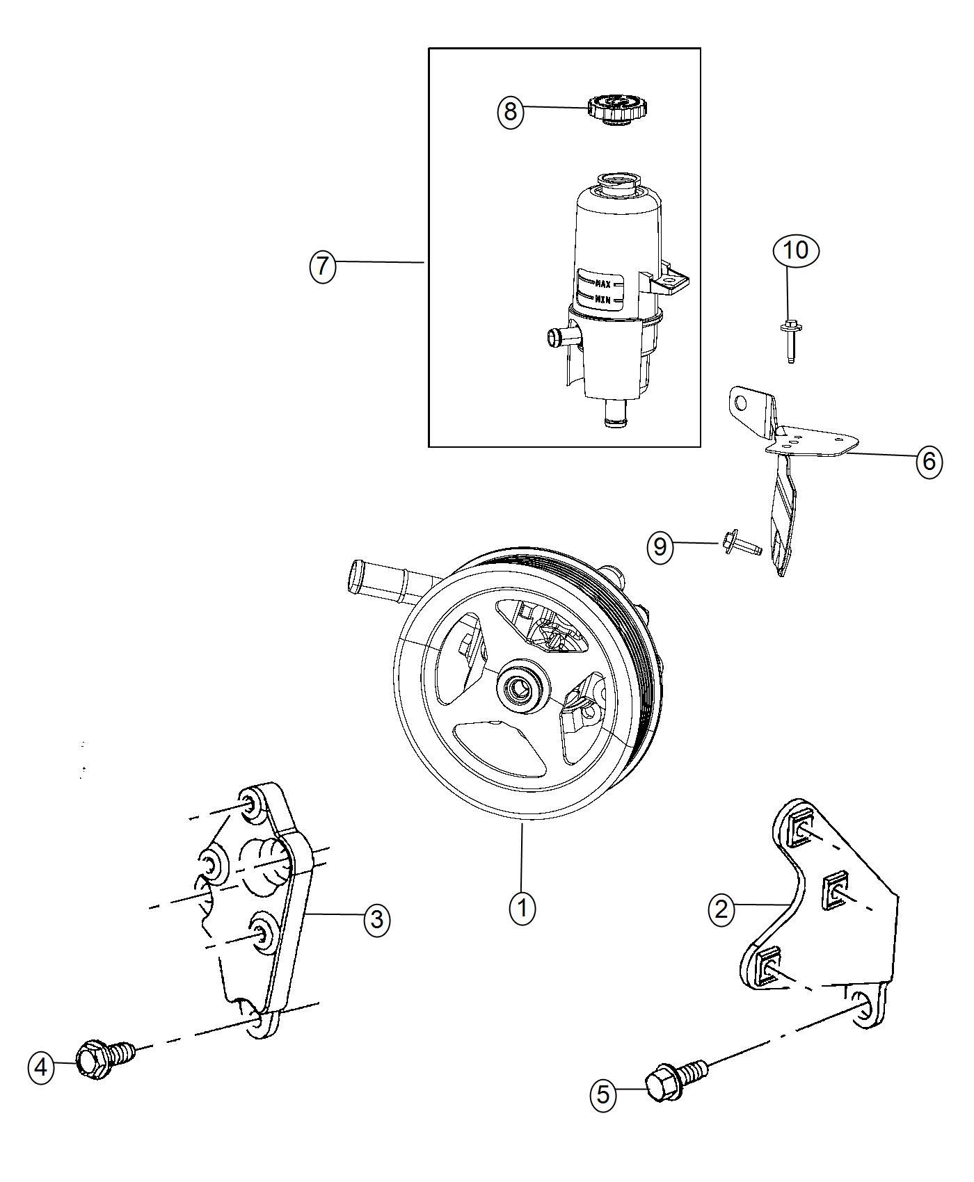 Ram Bracket Power Steering Reservoir Pump Etk