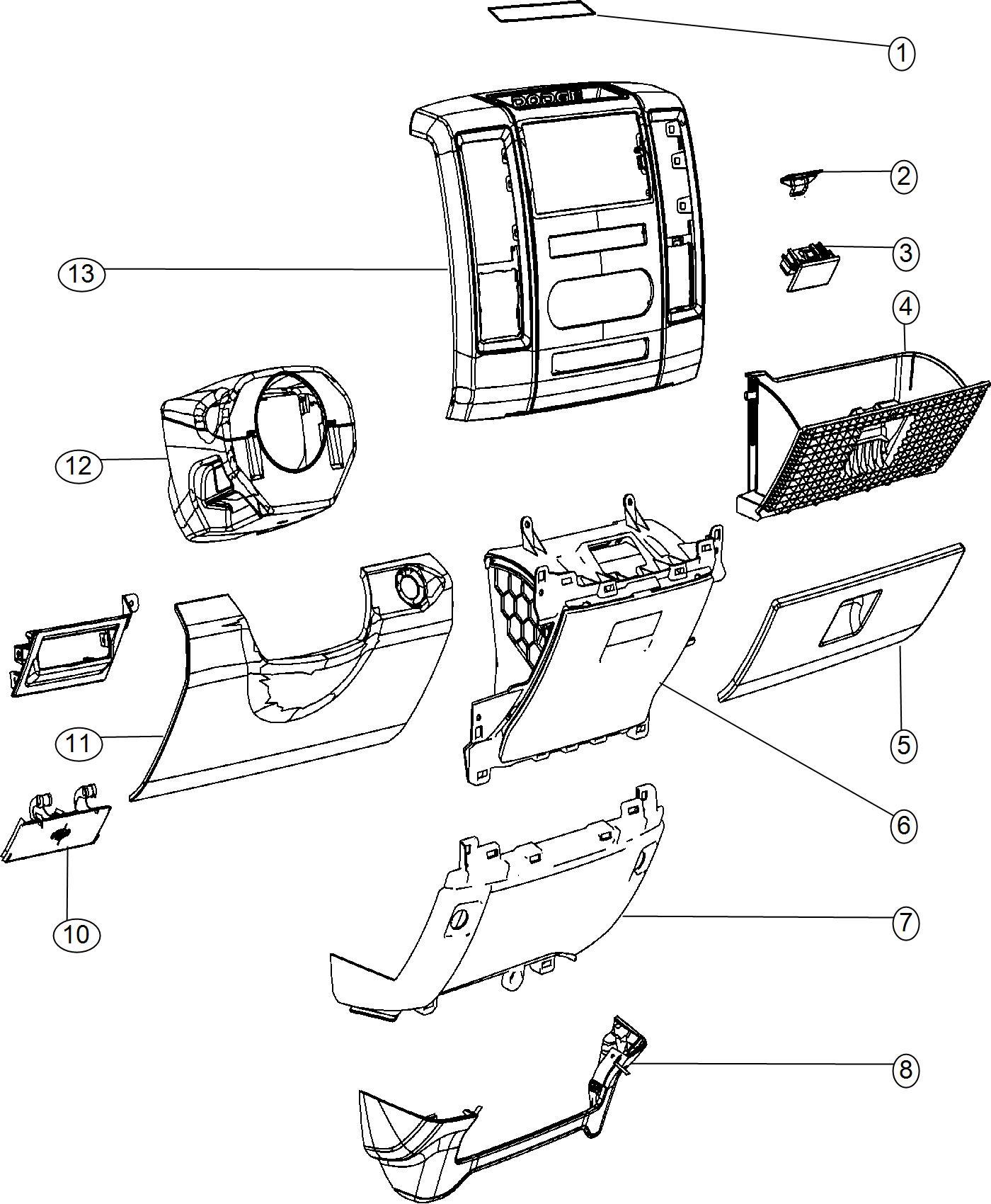 Ram Mat Instrument Panel Center Cubby Bin To
