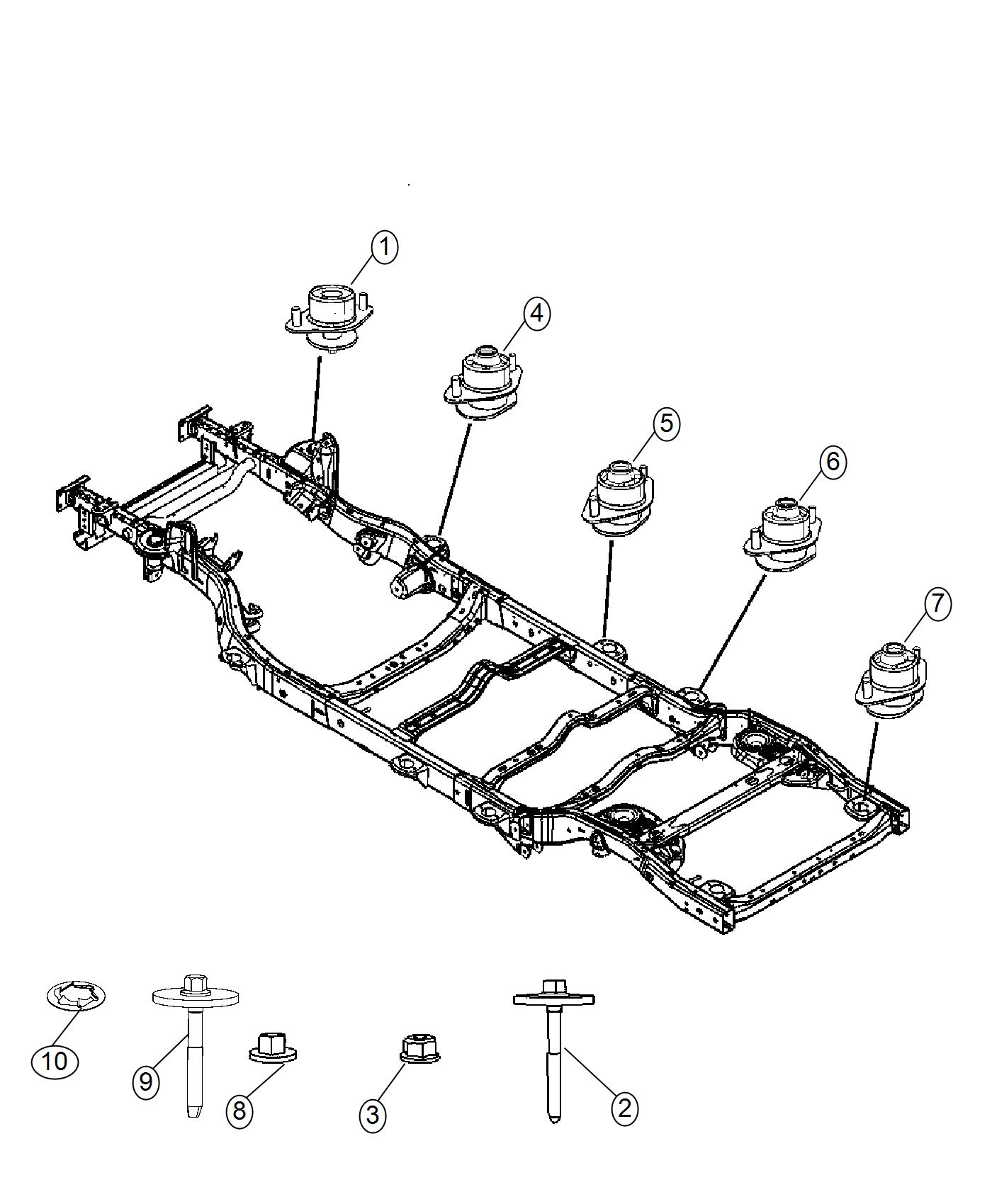 Jeep Wrangler Insulator Body Hold Down Export