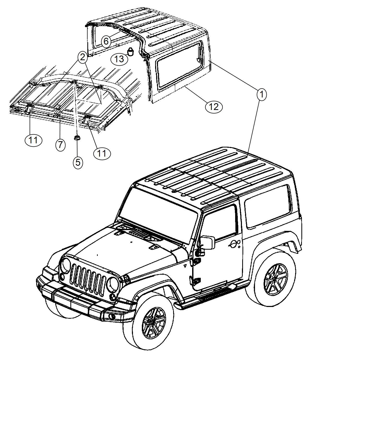 Jeep Wrangler Hardtop Black 3 Piece Hard Top