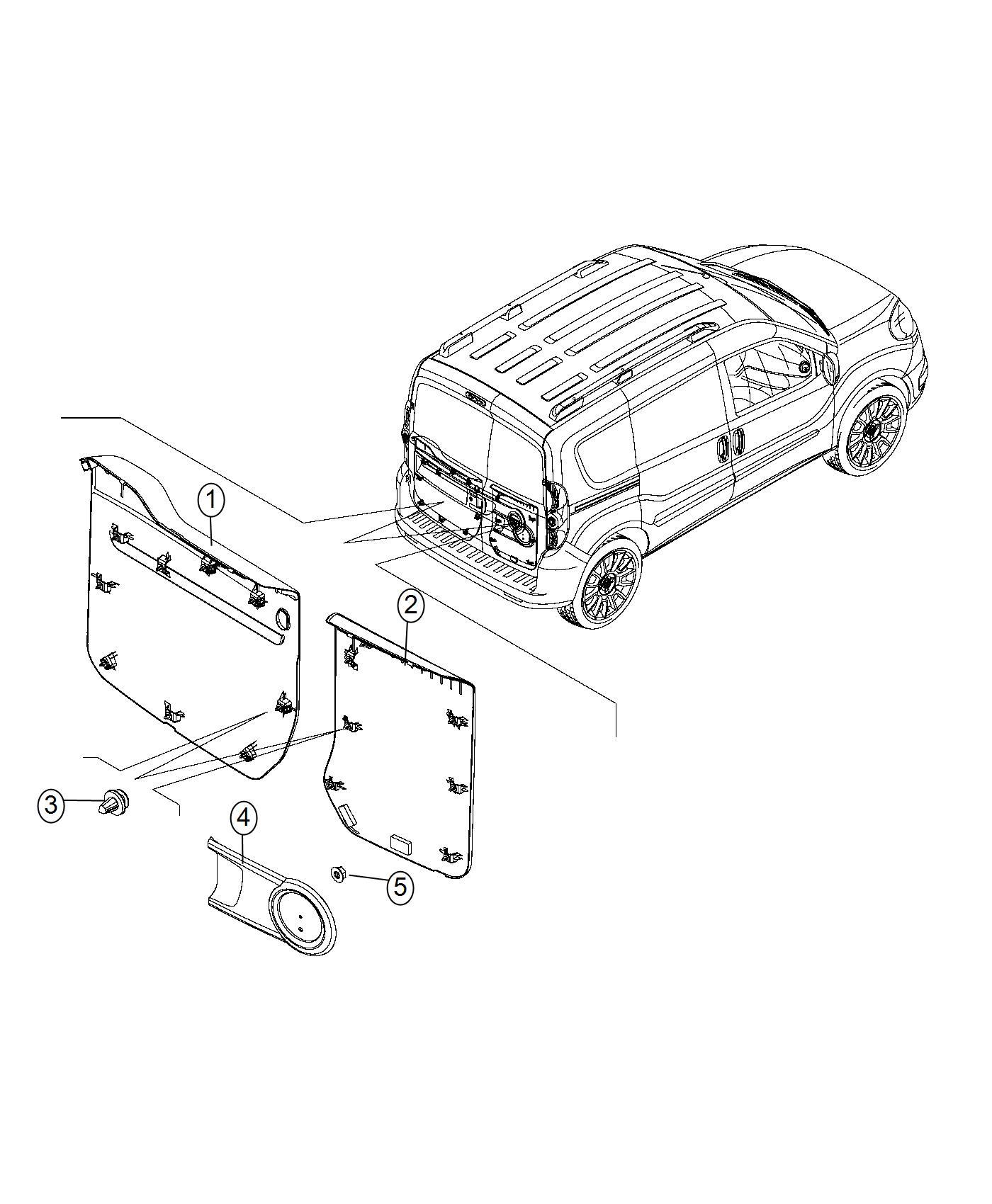 Ram Promaster City Wagon Panel Cargo Door Cargo