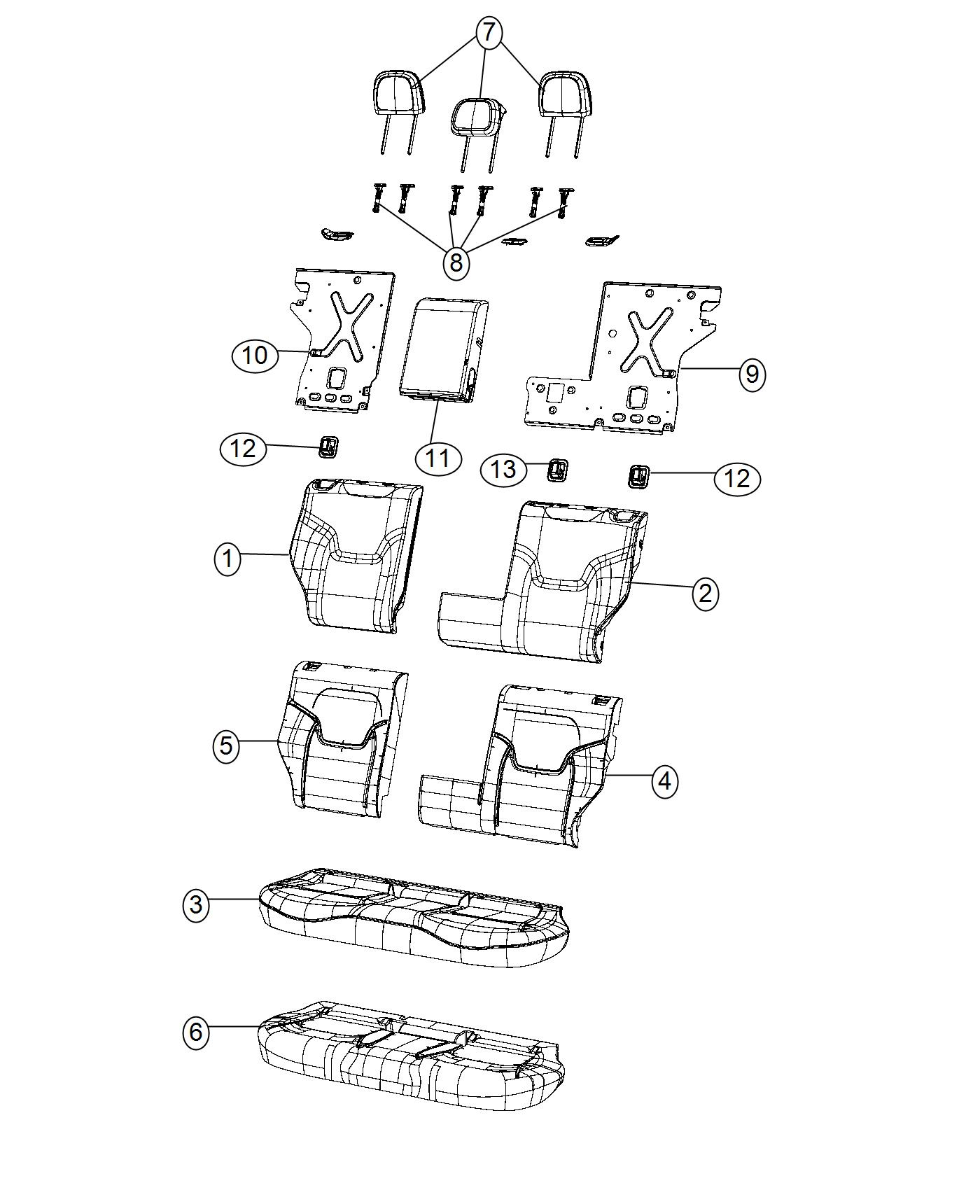 Jeep Renegade Armrest Rear Seat Bark Brown Ski
