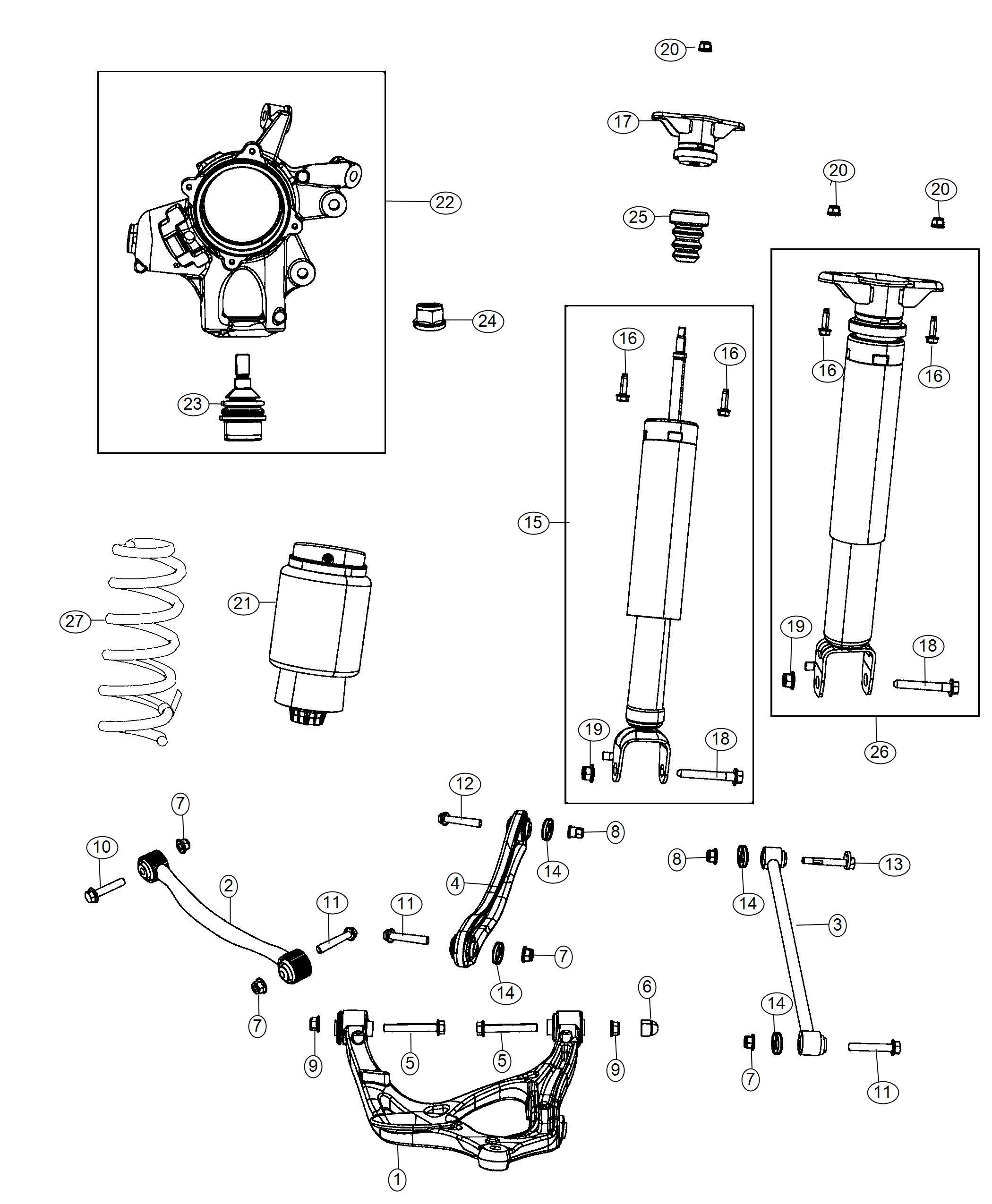 Jeep Grand Cherokee Shock Absorber Kit Suspension Rear