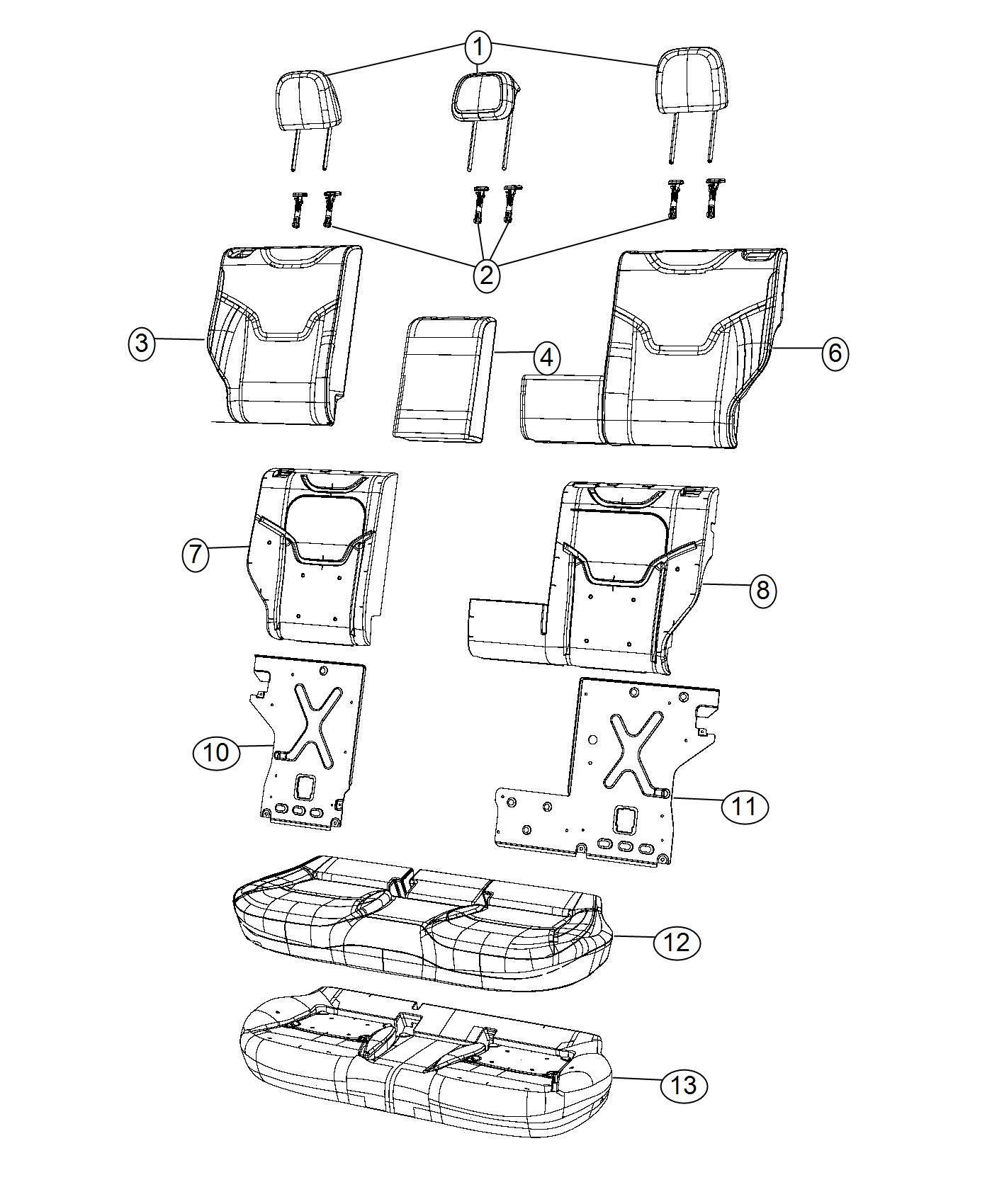 Jeep Renegade Sleeve Headrest Locking Black Ski Grey