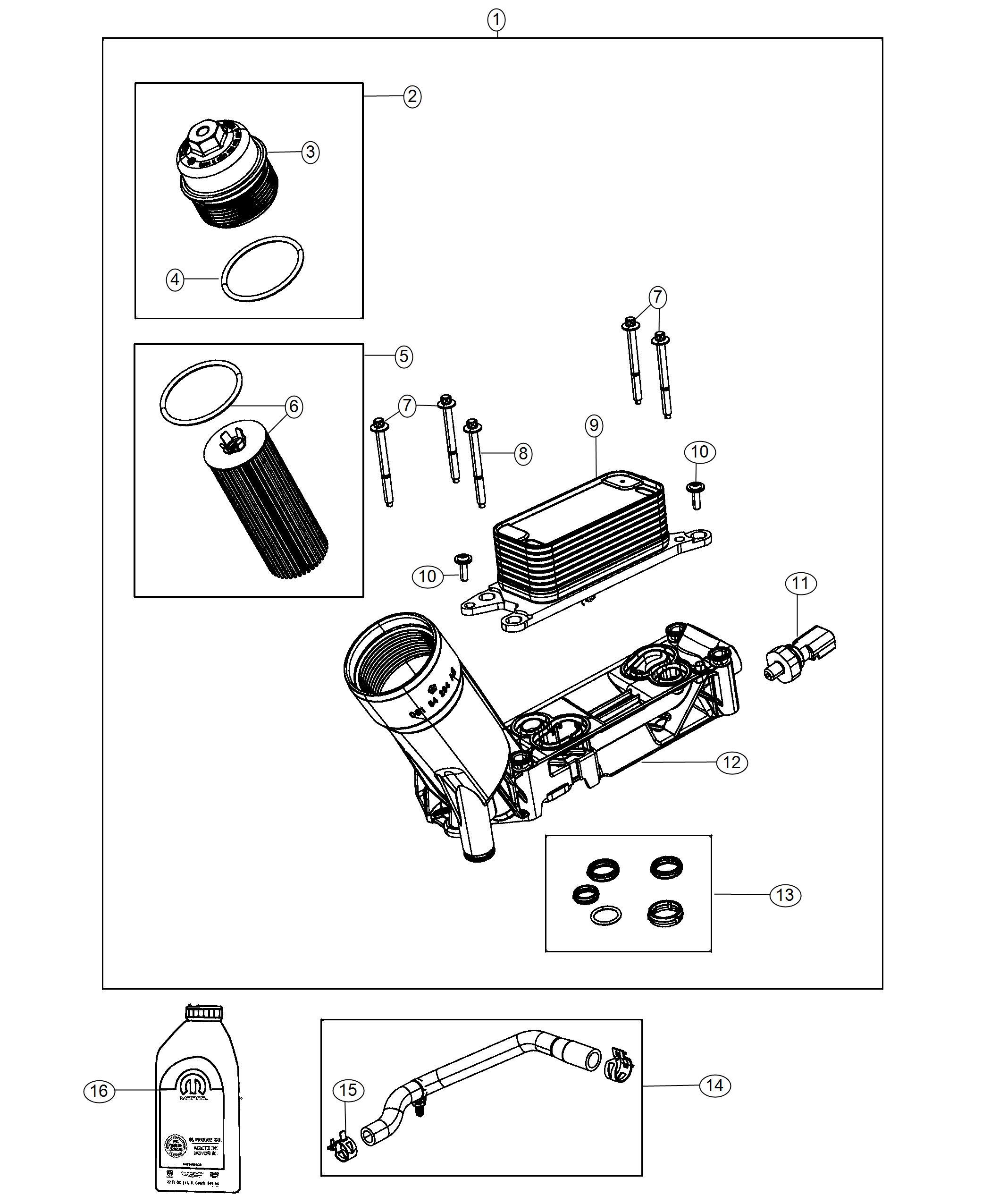 Chrysler Pacifica Hose Oil Cooler Outlet Engine Filter