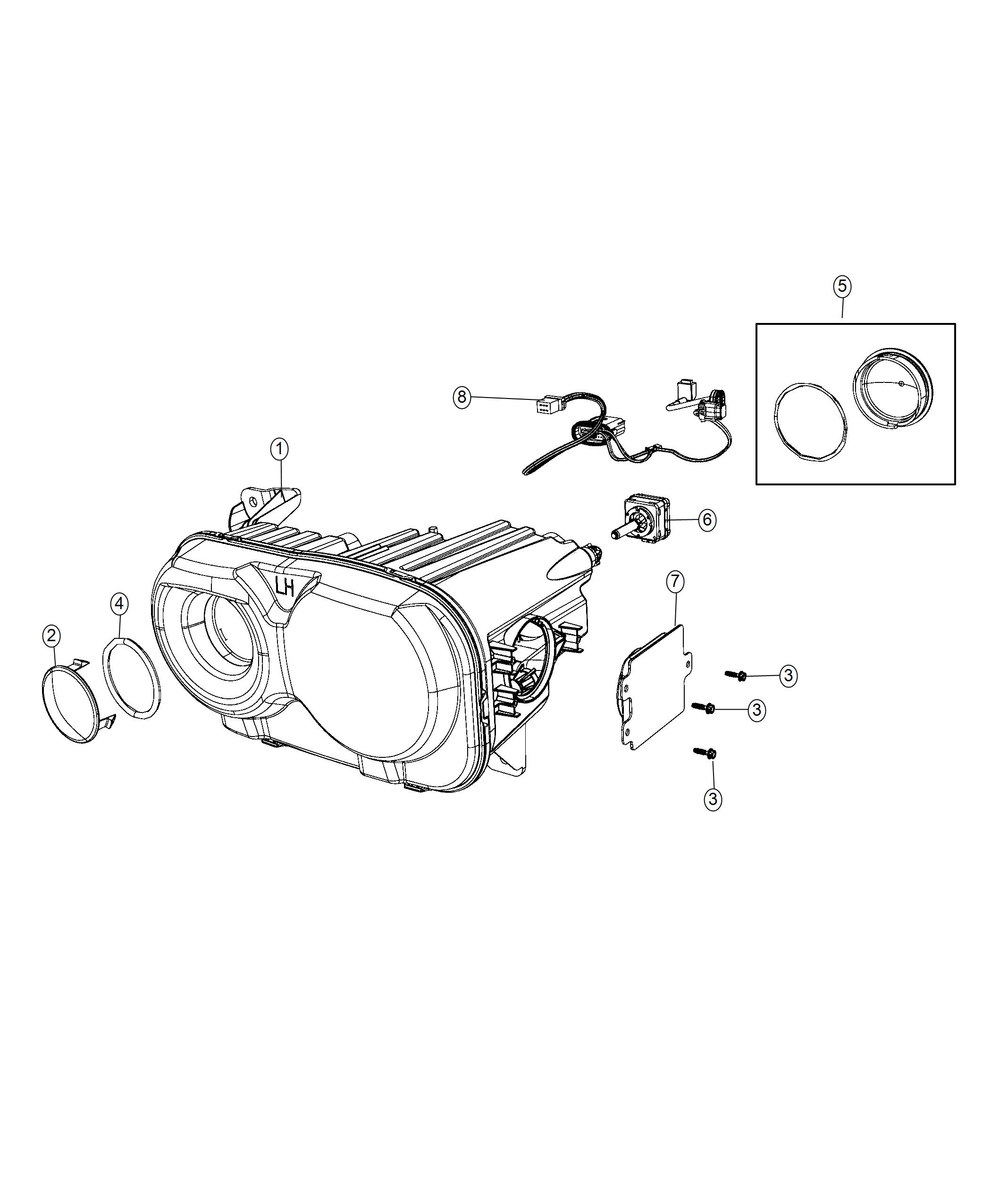 Dodge Challenger Headlamp Left High Intensity Discharge Headlamps Illuminated