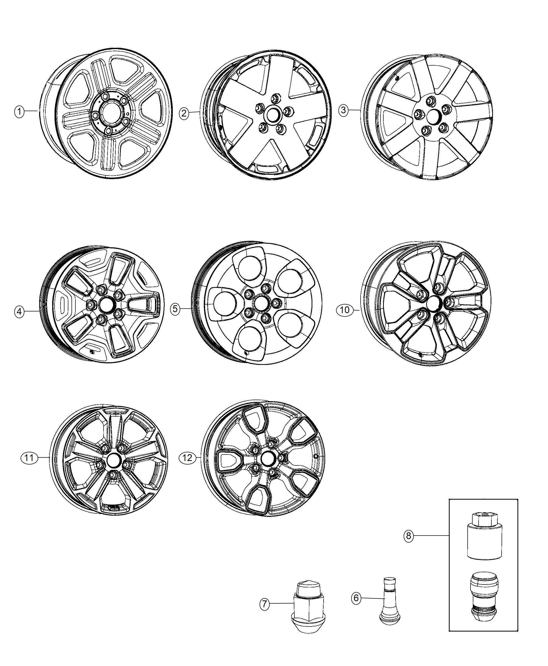 Jeep Wrangler Wheel Aluminum Front Or Rear Color