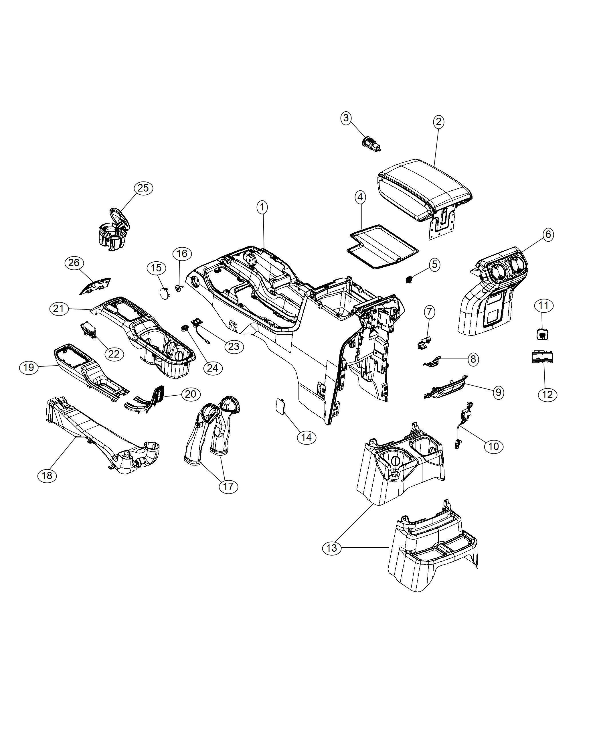 Jeep Wrangler Lamp Courtesy Center Console Parts Module