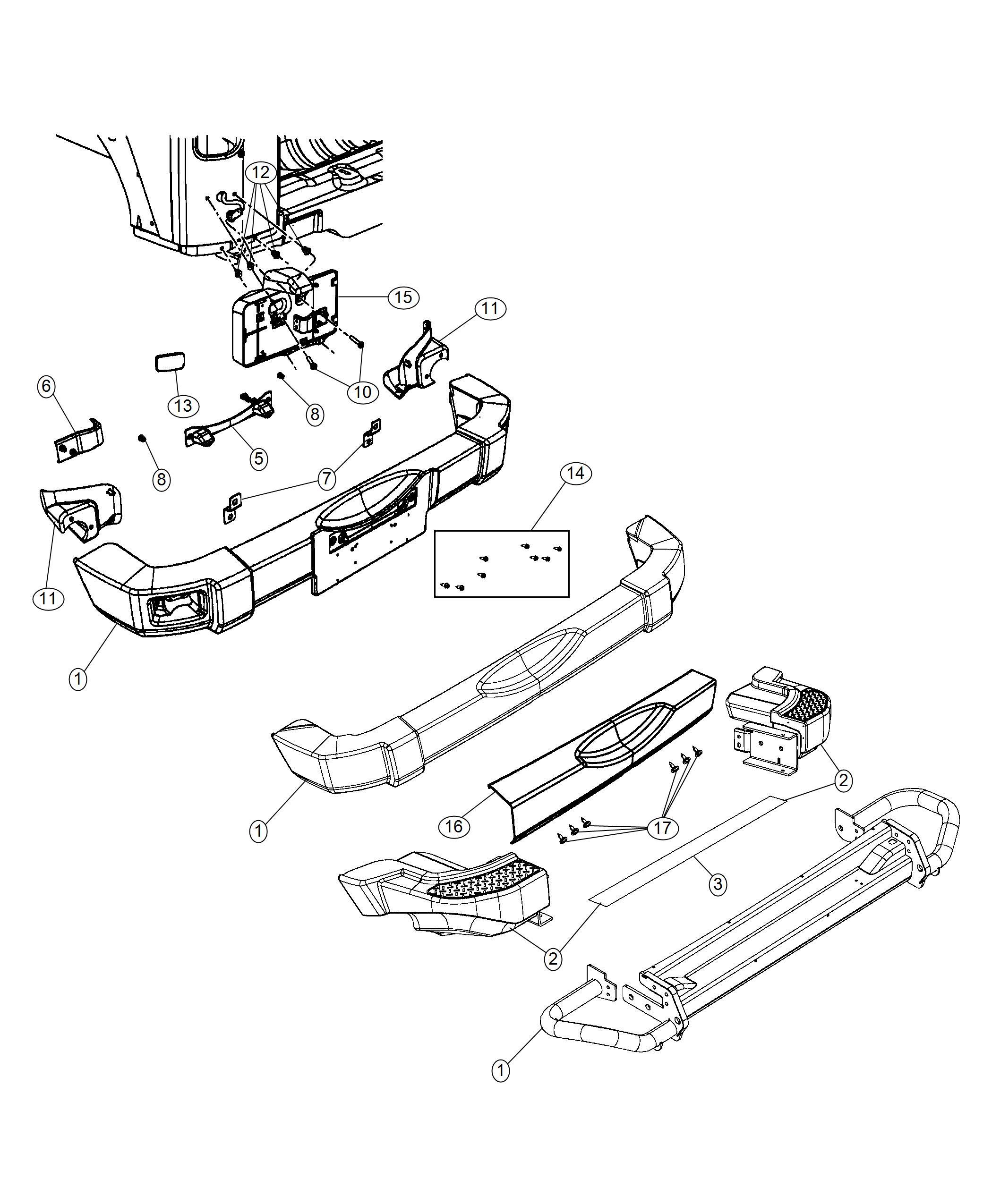 Jeep Wrangler Fastener Kit Rear Bumper Mopar Hd Rear