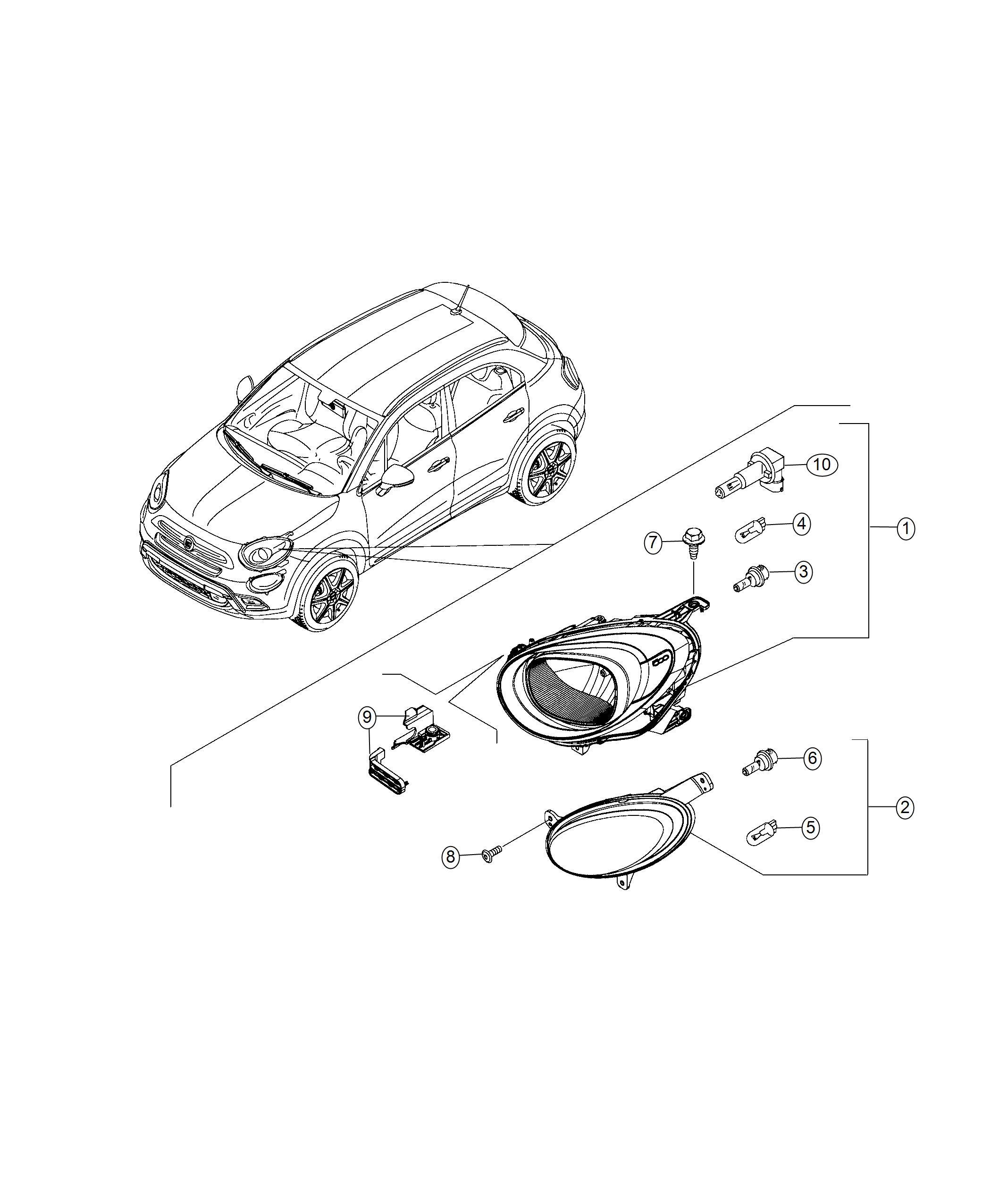 Fiat 500x Bulb Headlamp Export Us Canada Mexico