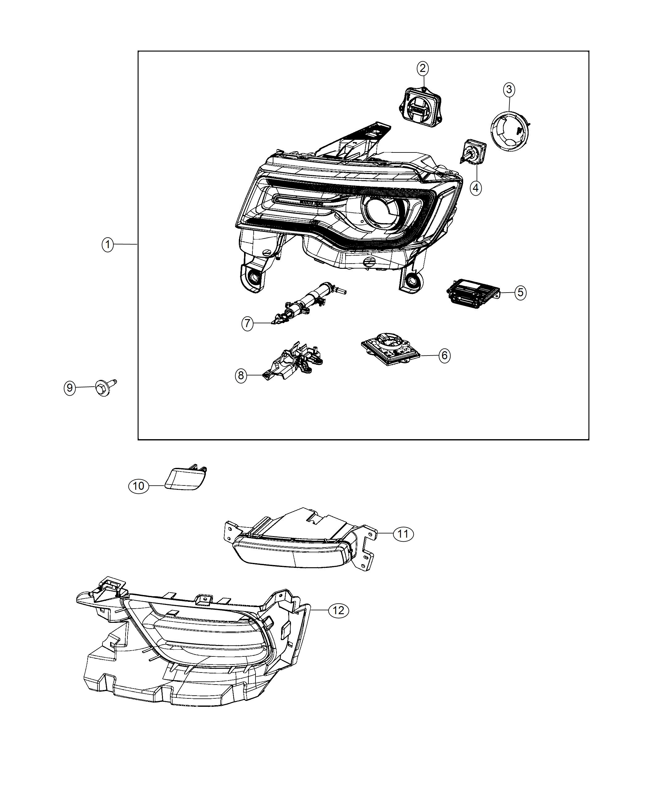 Jeep Grand Cherokee Cover Headlamp Washer Left