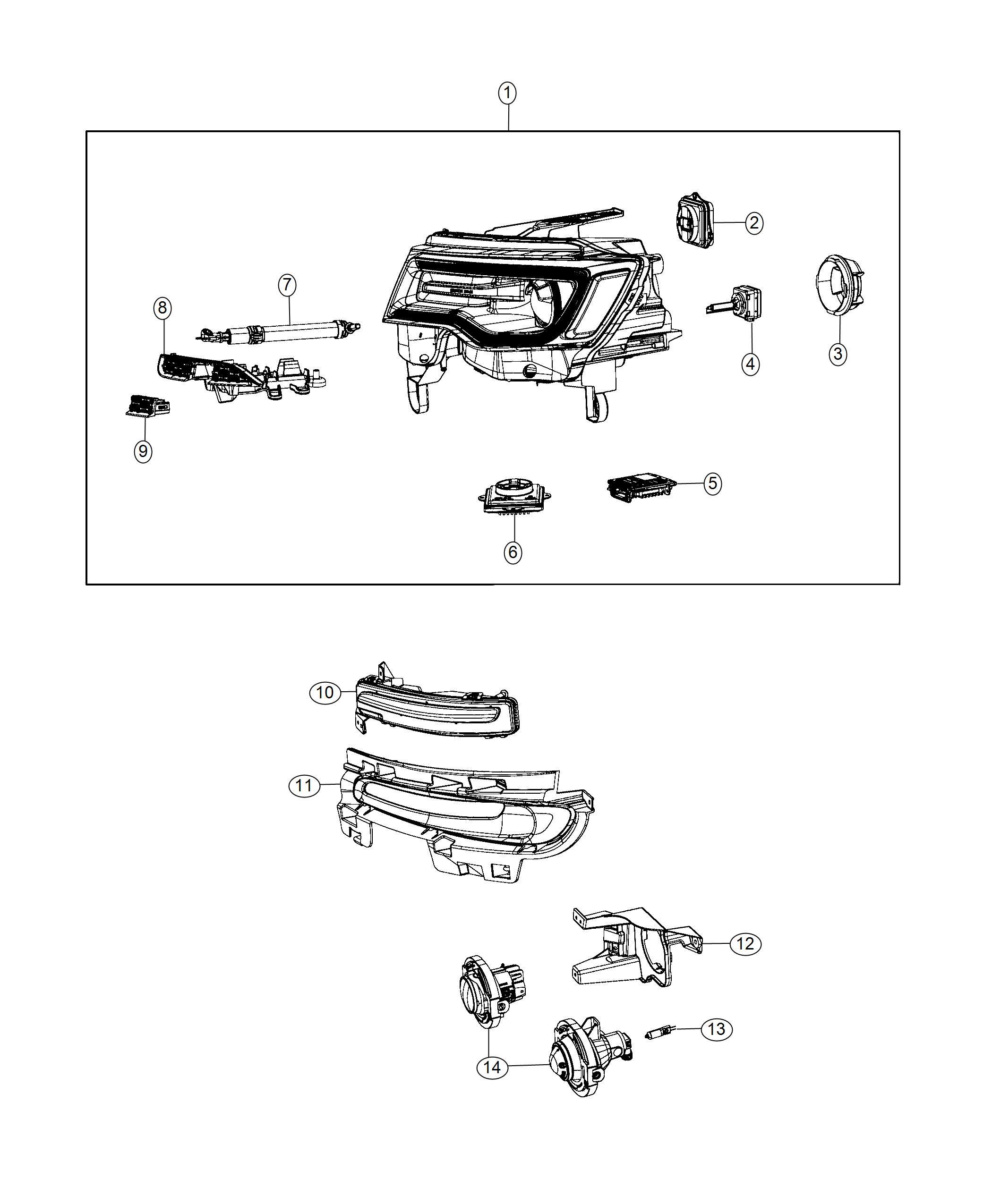 Jeep Grand Cherokee Headlamp Right Export