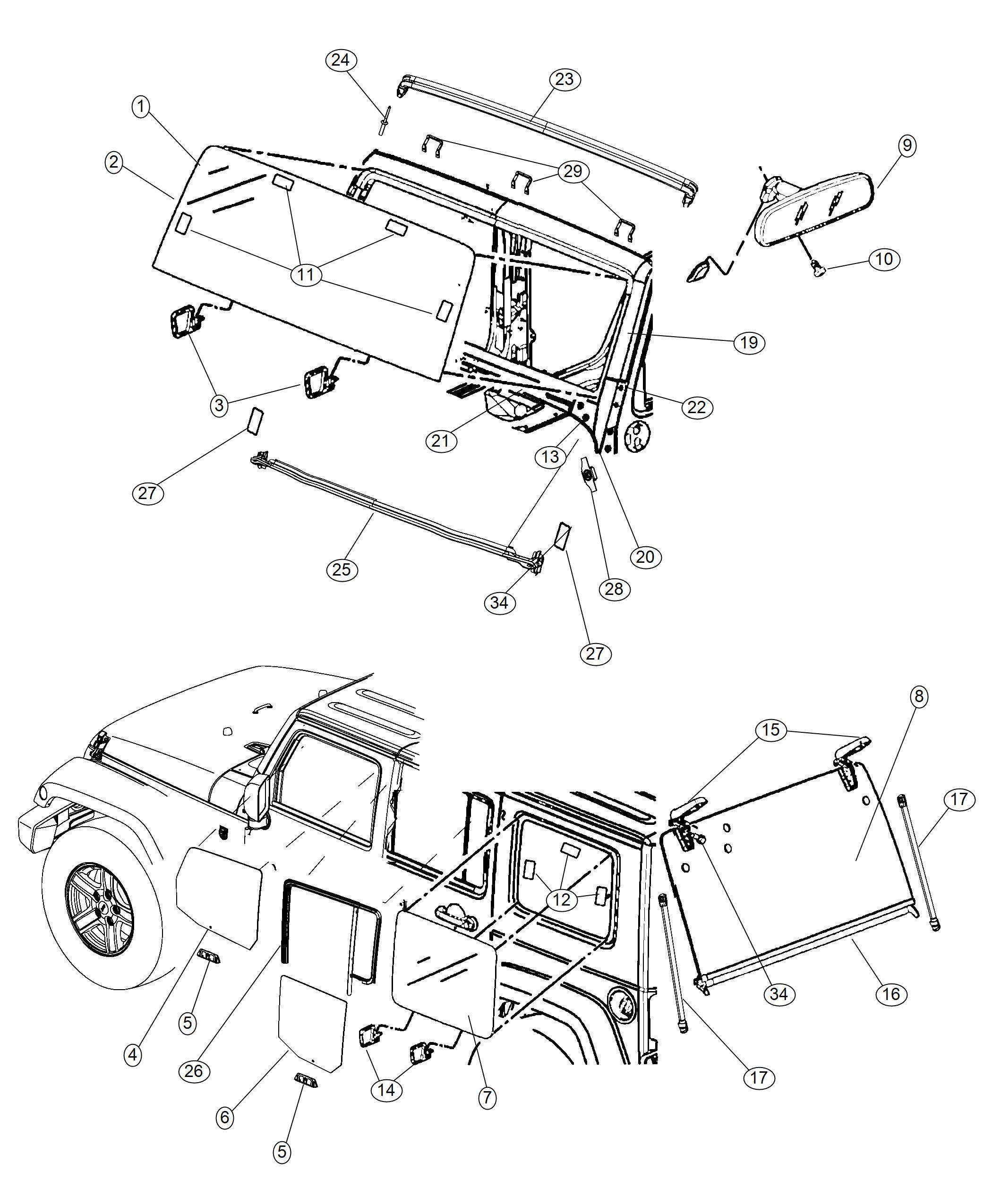 Jeep Wrangler Weatherstrip Windshield Header Glass