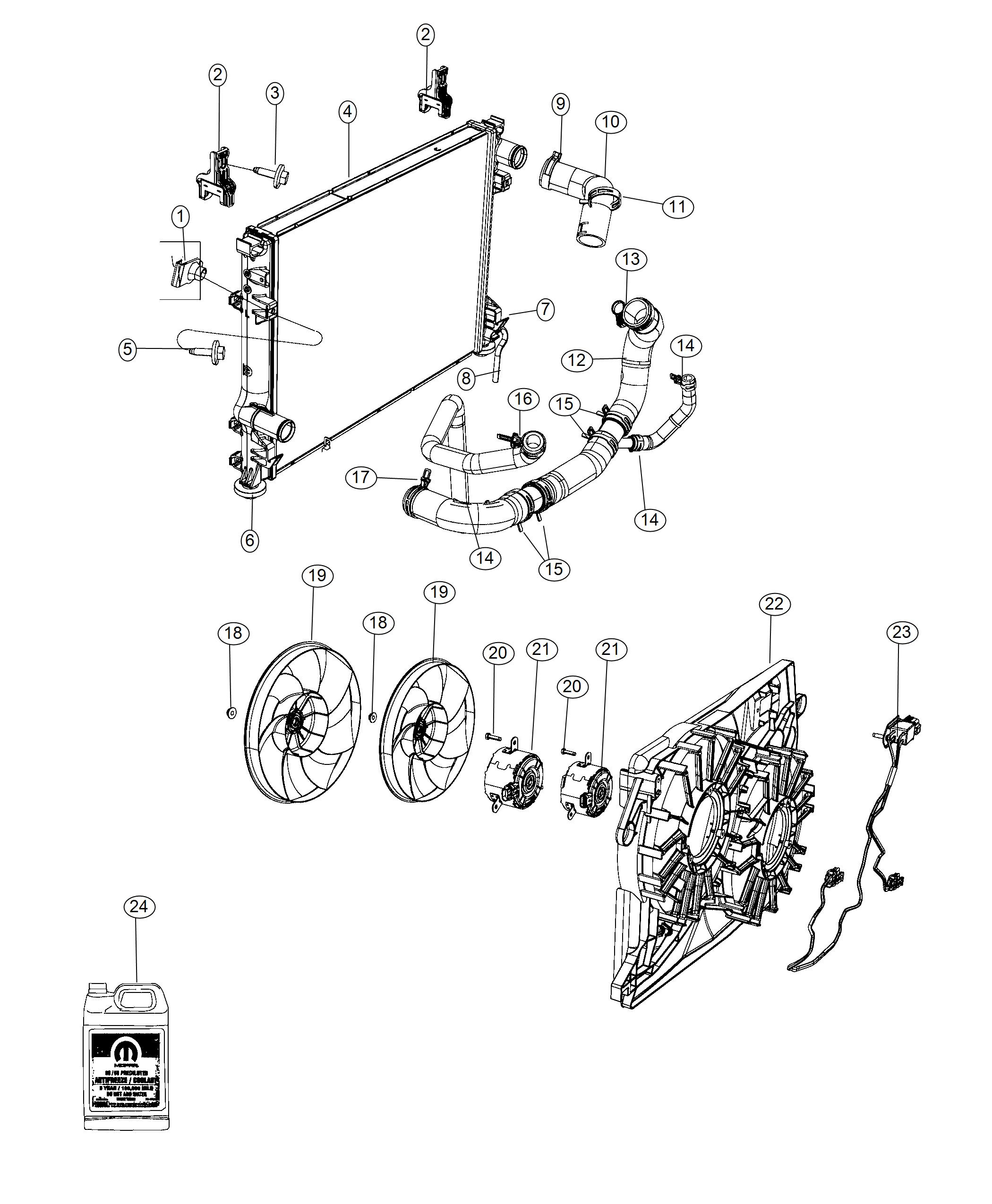 Dodge Challenger Hose Radiator Inlet Related Fan