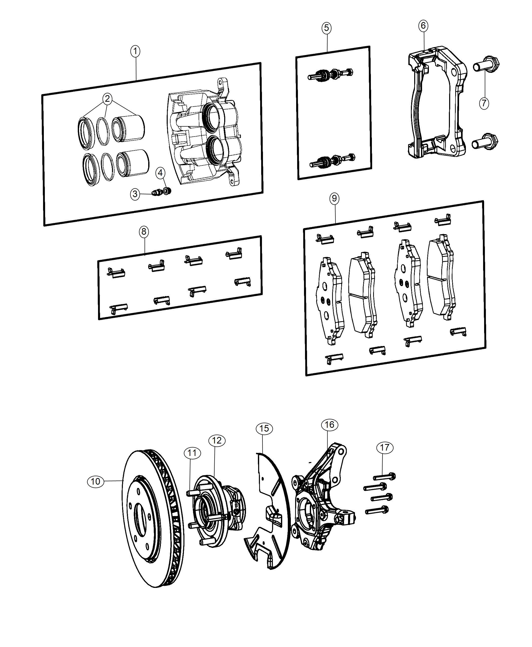 Chrysler Pacifica Adapter Disc Brake Caliper Front