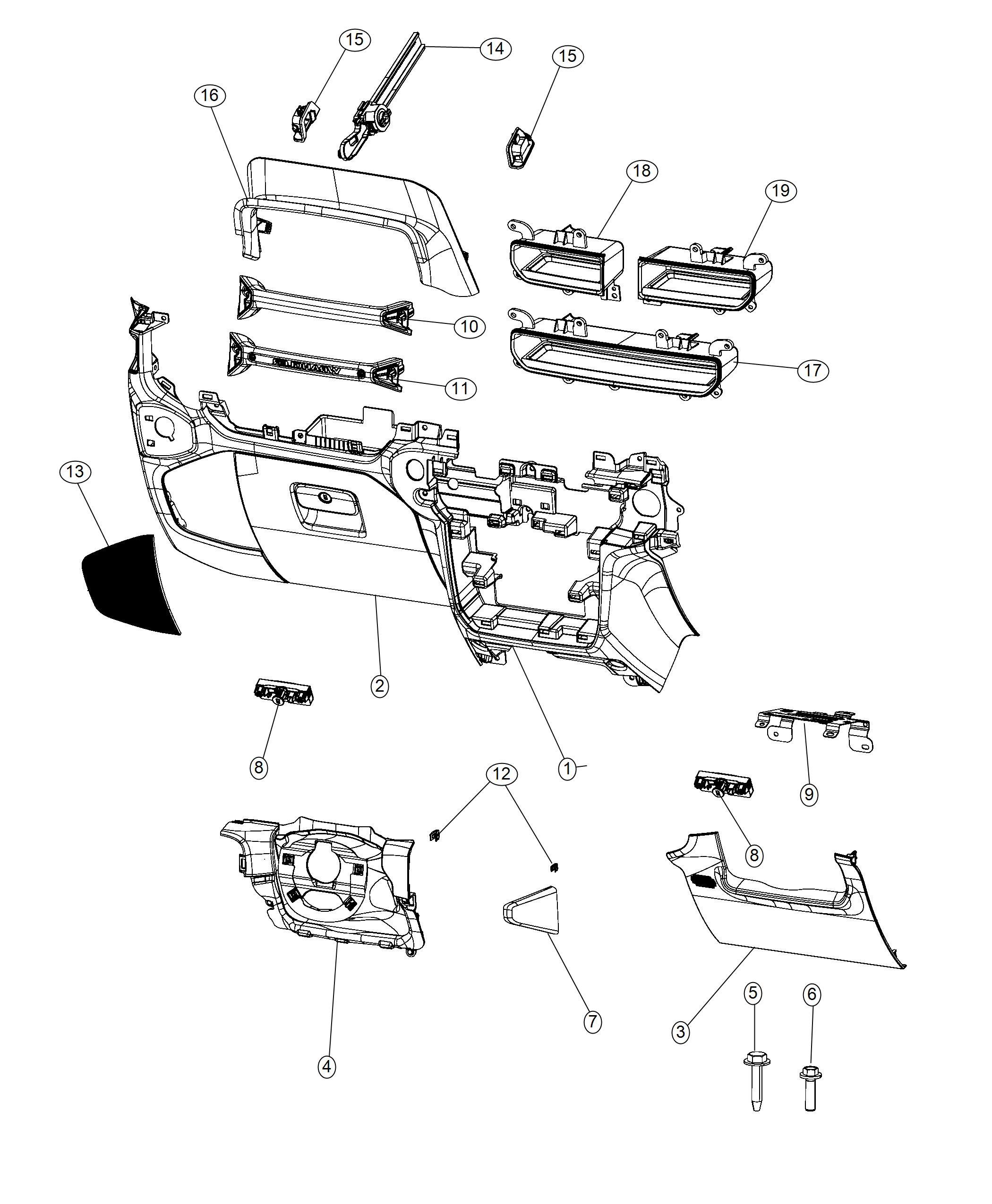 Jeep Wrangler Glove Box Instrument Panel Black Heritage