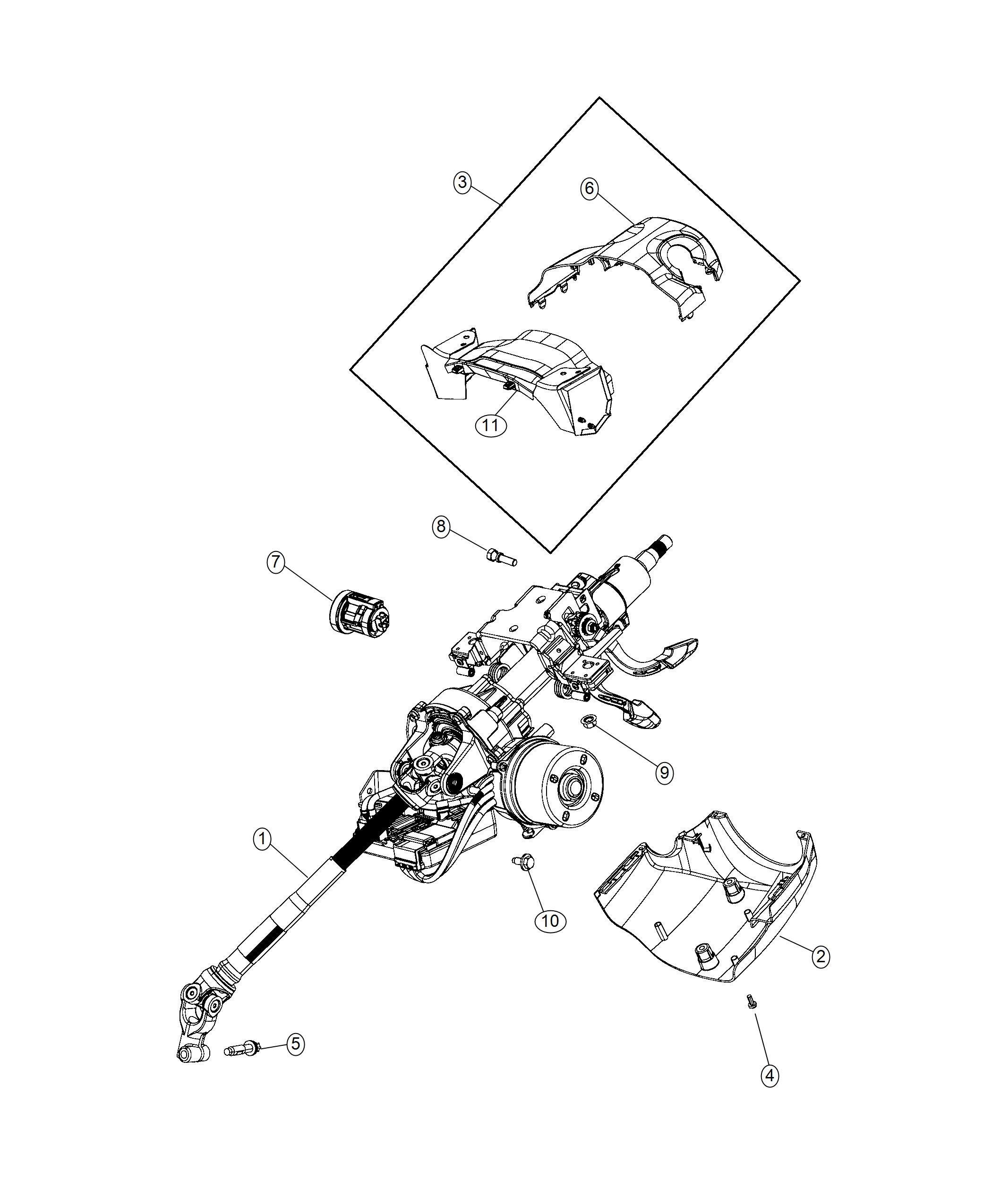 Jeep Renegade Shroud Steering Column Lower Keyless Go