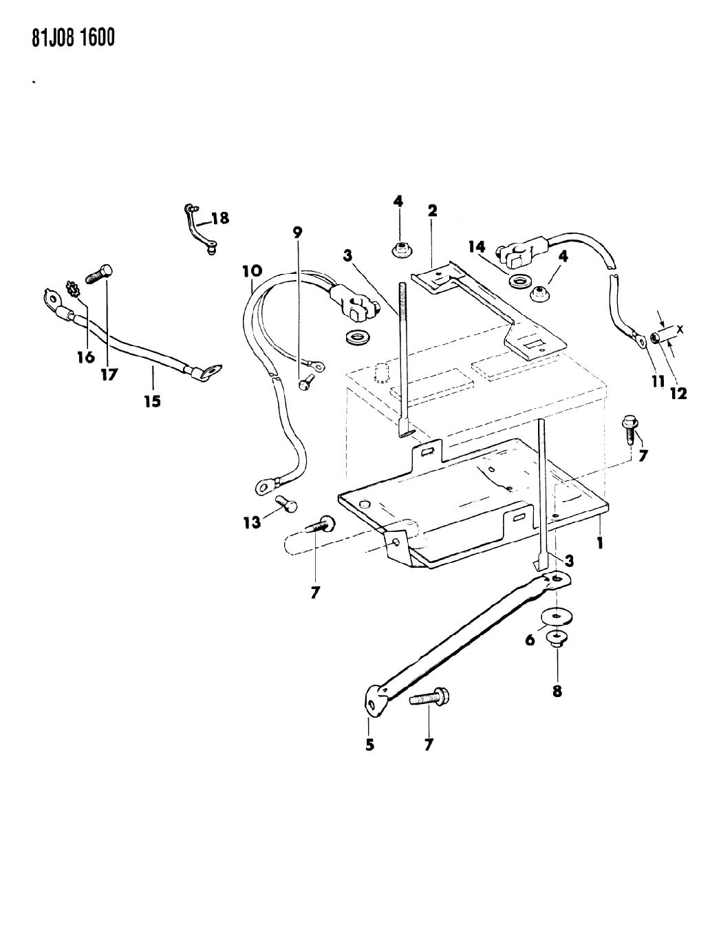 Jeep Wrangler Bracket Battery Hold Down Top