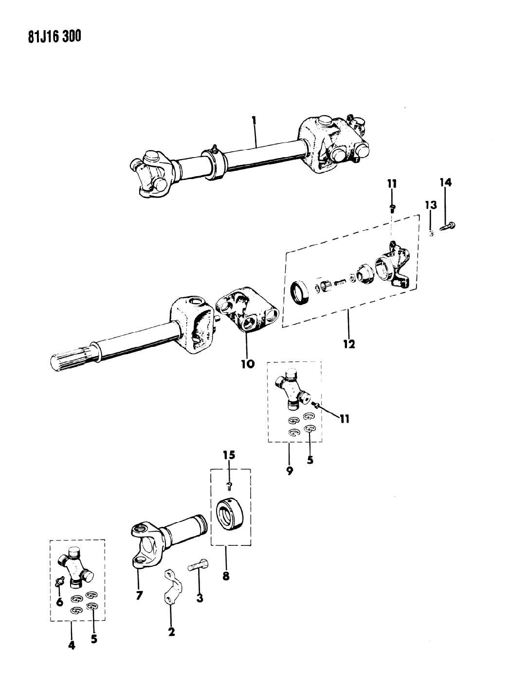 Jeep Wrangler Yoke Drive Shaft Selec Trac Full Time 4wd