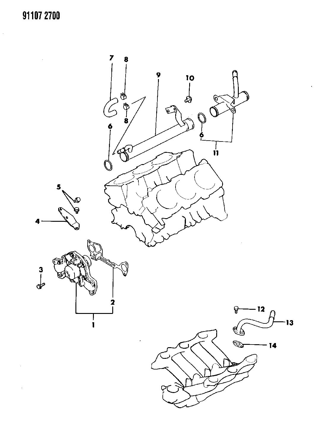 Chrysler Water Pump And Related Parts 3 0l Engine