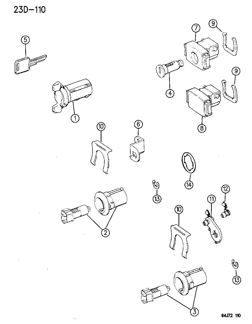 Jeep Wrangler Lever Door Cylinder Lever Door Lock