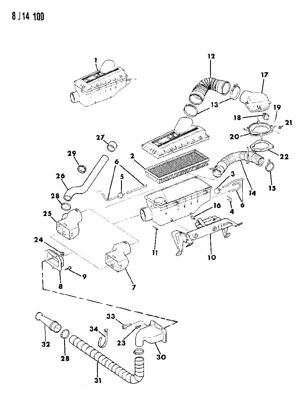 Jeep Wrangler Air Cleaner 2 5l Efi Engine Wrangler Yj