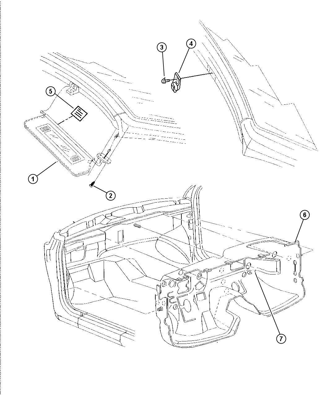 Chrysler Sebring Support Visor Center Dv L5