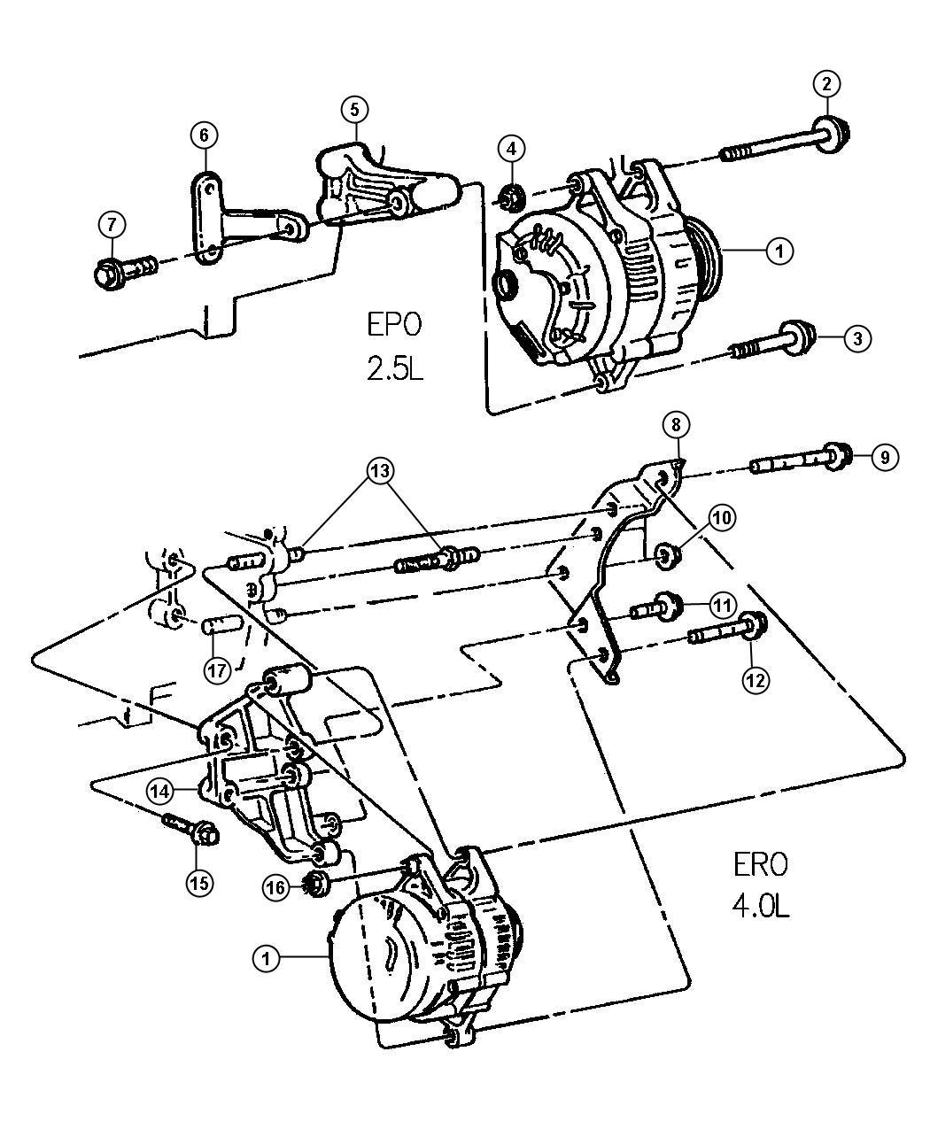 Jeep Bracket Rear Mount Alternator Brace Rear
