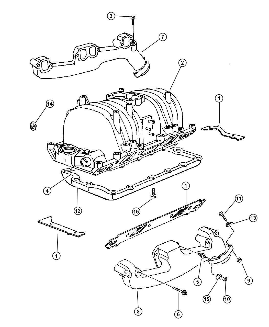 Dodge Dakota Stud 312 18 312 24x2 25 Exhaust Manifold