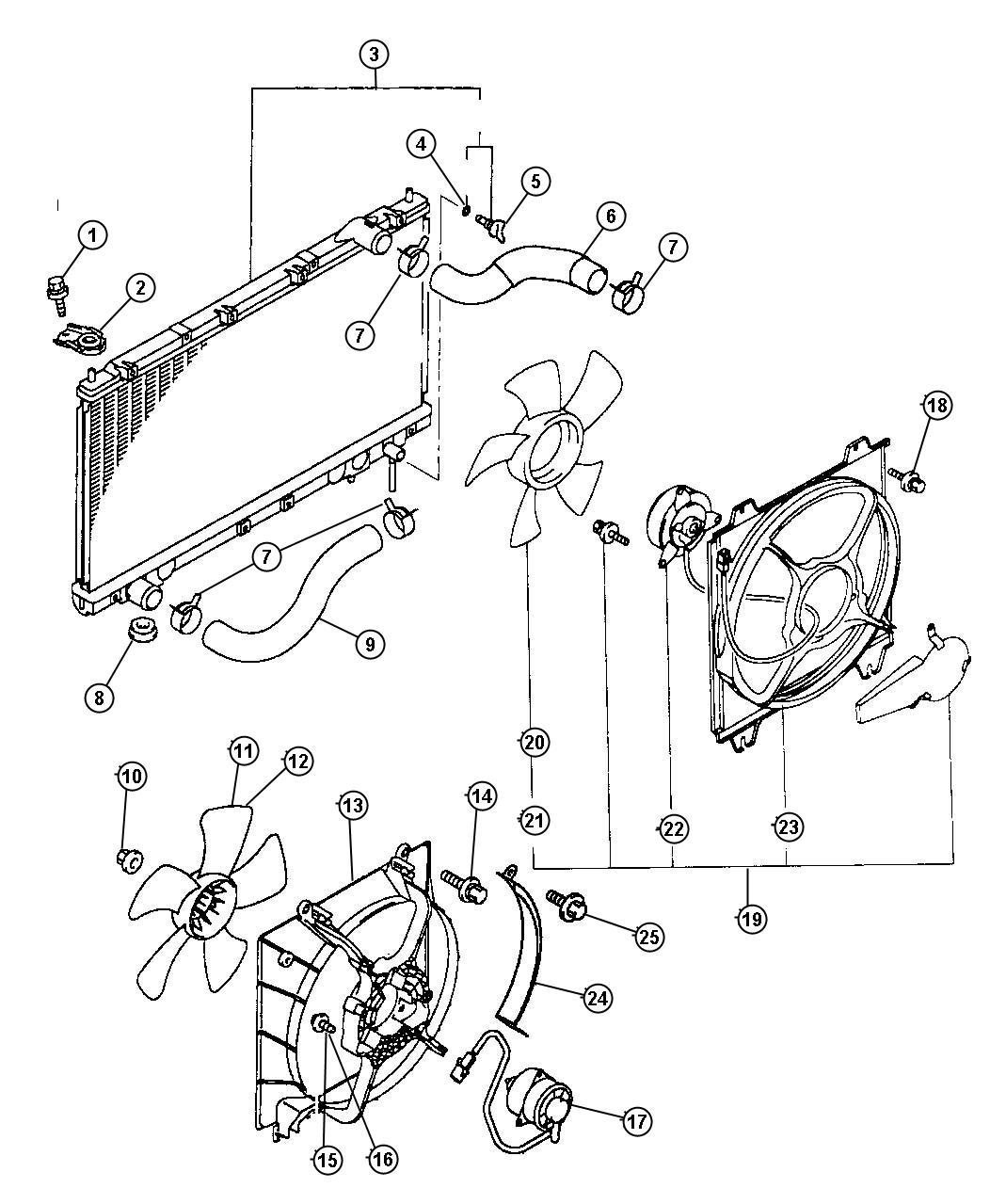 Chrysler Sebring Motor Condenser Fan