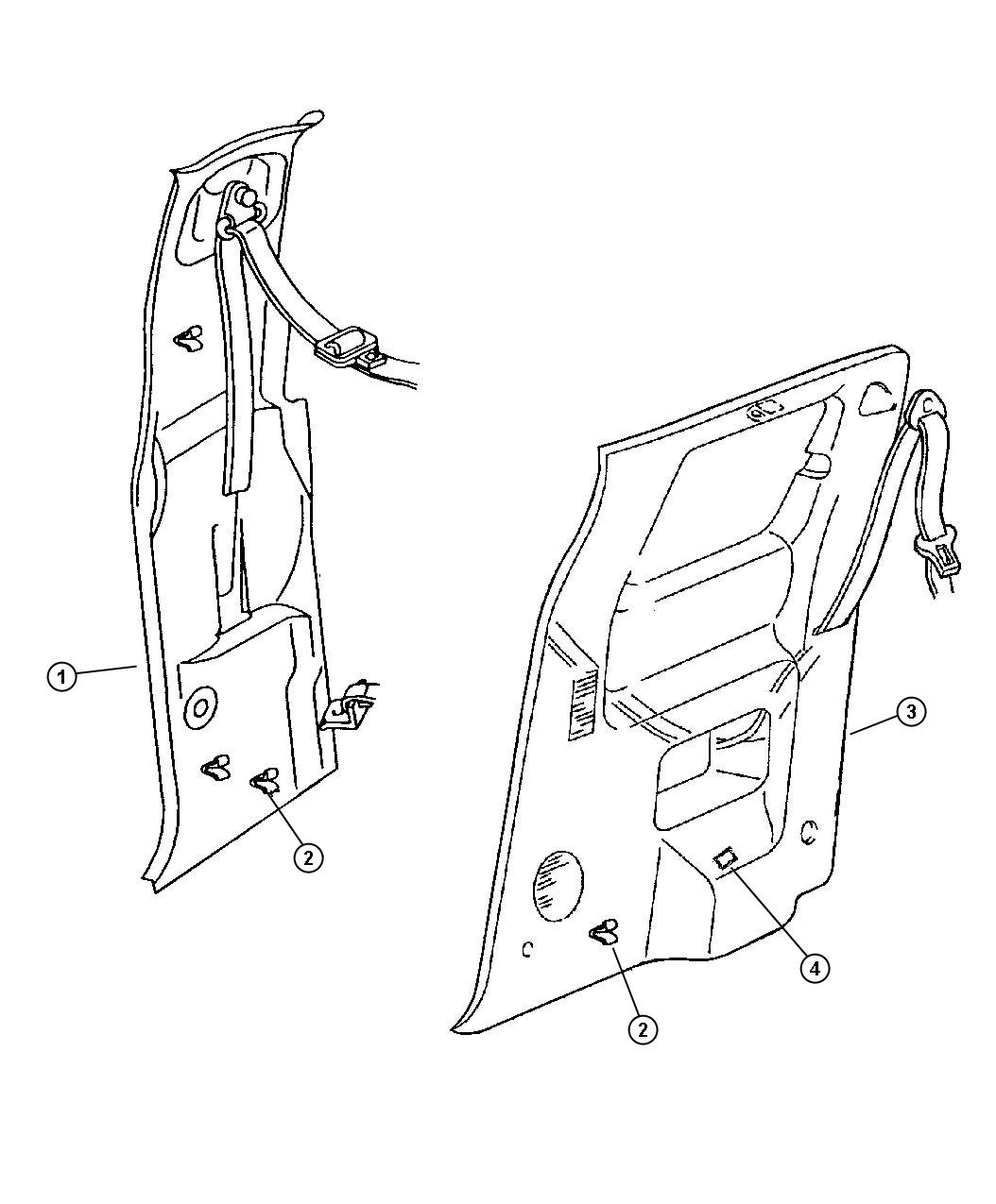 Dodge Ram Molding Panel C Pillar Right Az