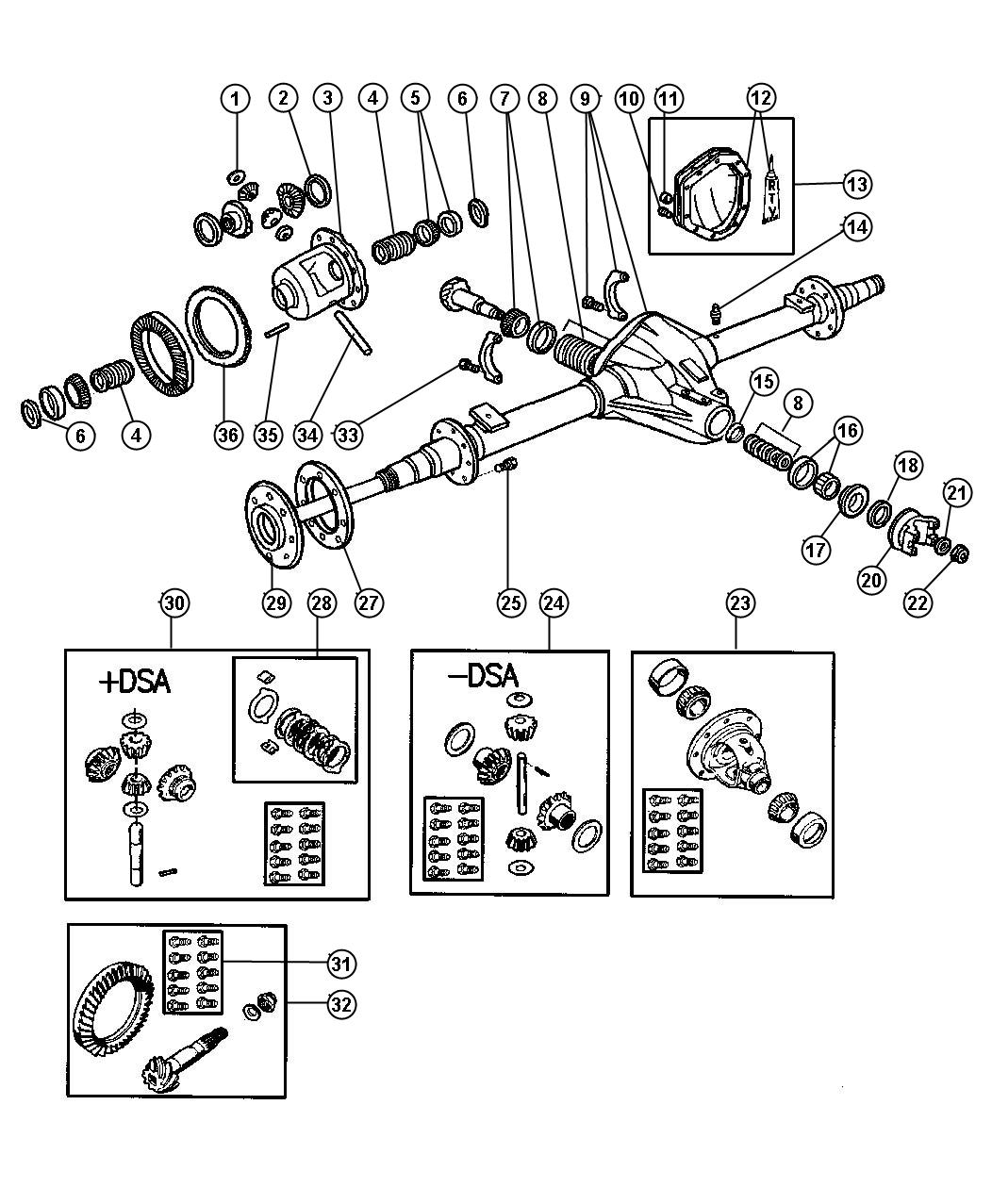Axle Rear With Differential Parts Dana Model 80 Br 2 3 7 8