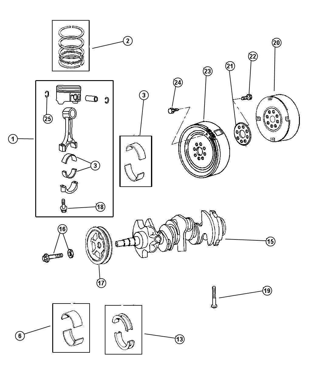 Dodge Intrepid Bearing Package Crankshaft 006mm