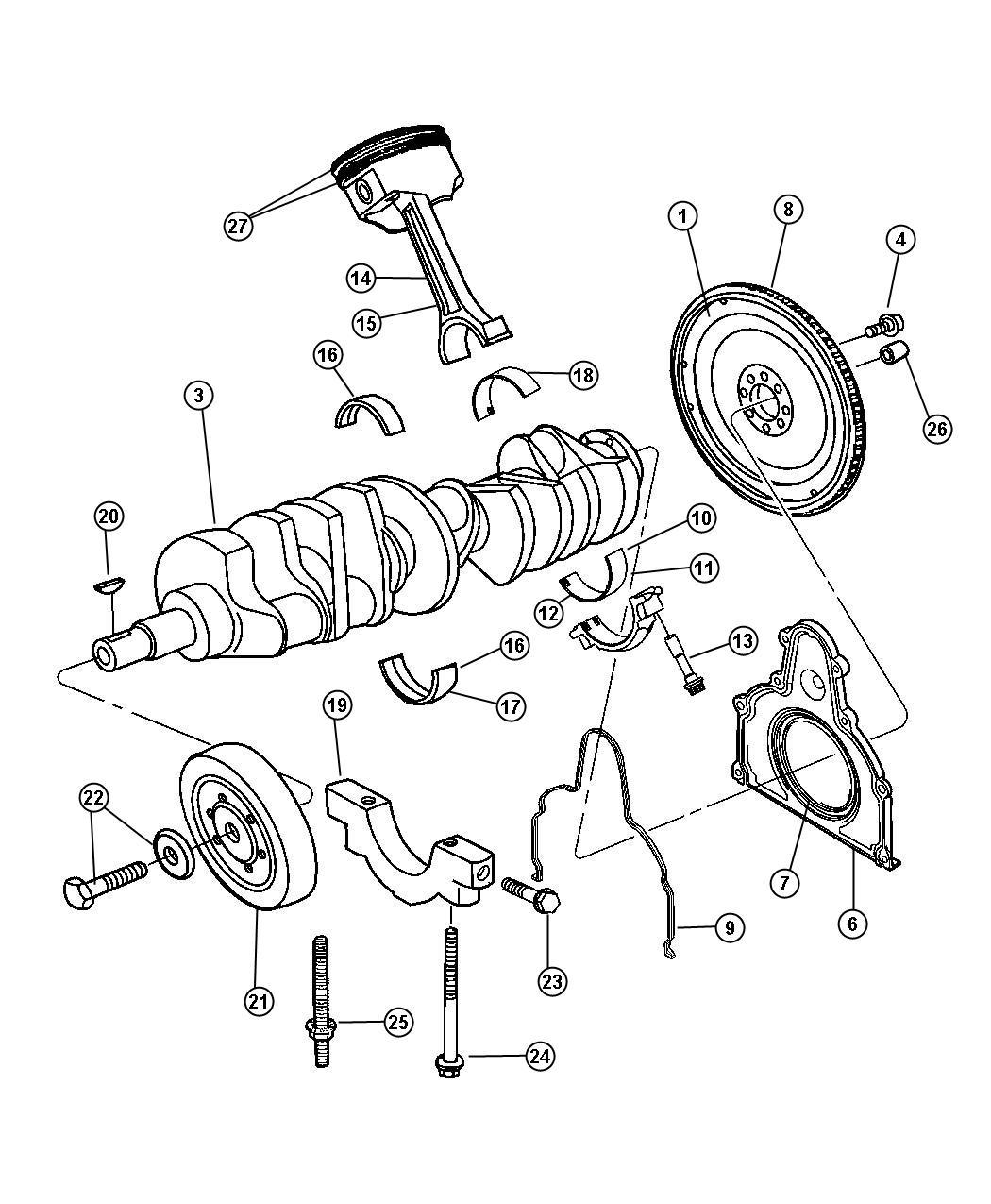 Dodge Viper Bearing Package Crankshaft Standard 1 2 4