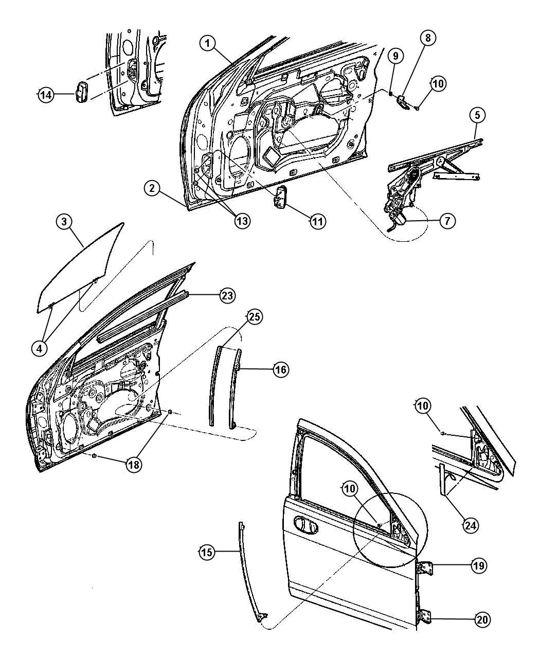 Dodge Stratus Weatherstrip Front Door Belt Left