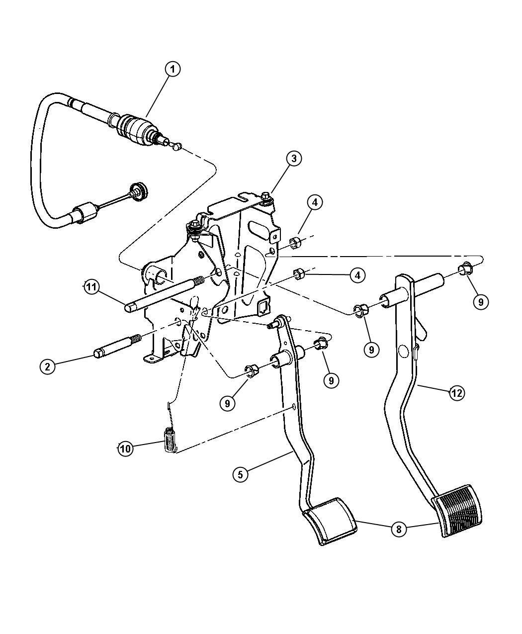 Chrysler Sebring Bracket Used For Clutch And Brake Pedal