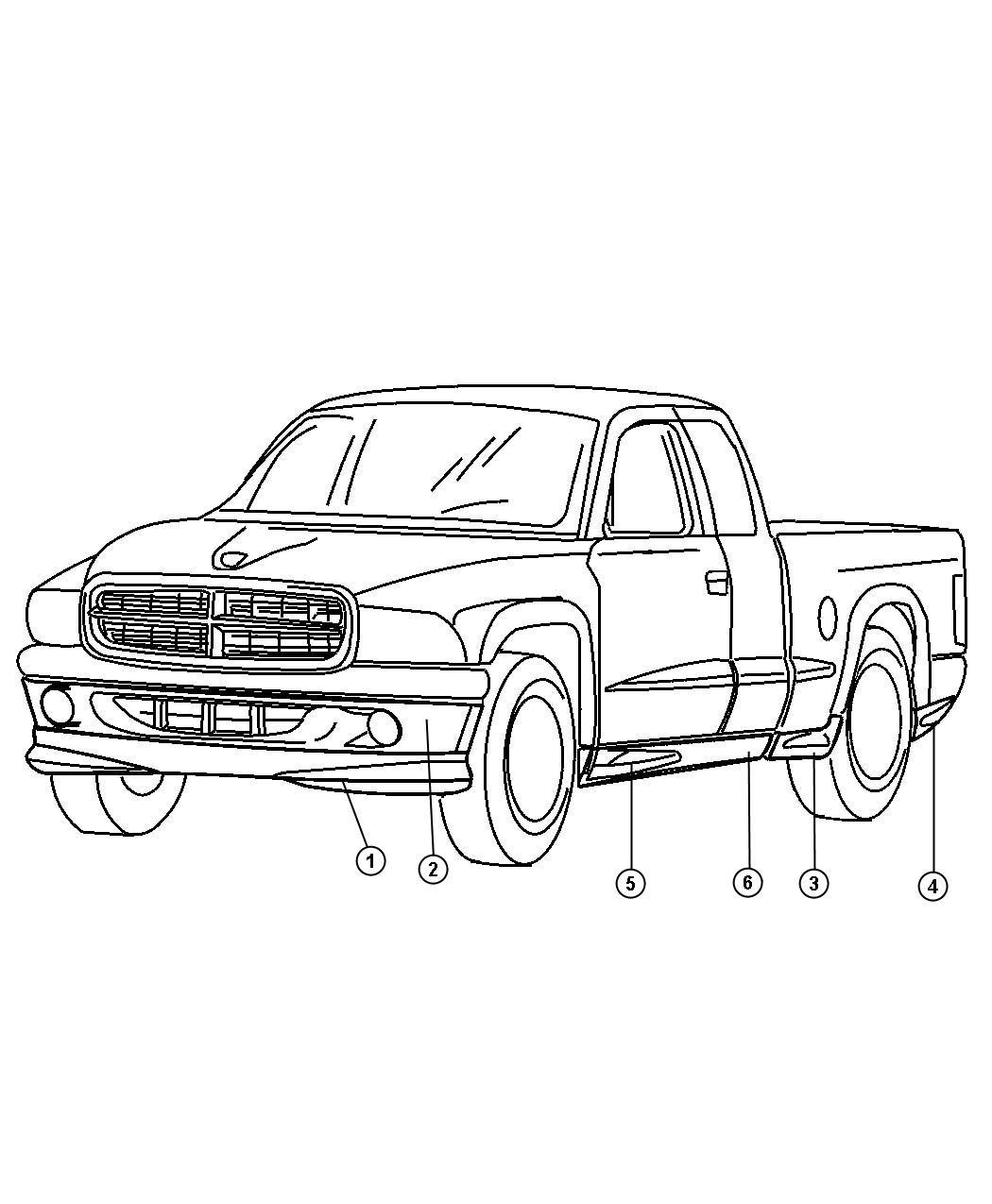 Dodge Dakota Cladding Quarter Panel Right Stripe Badge