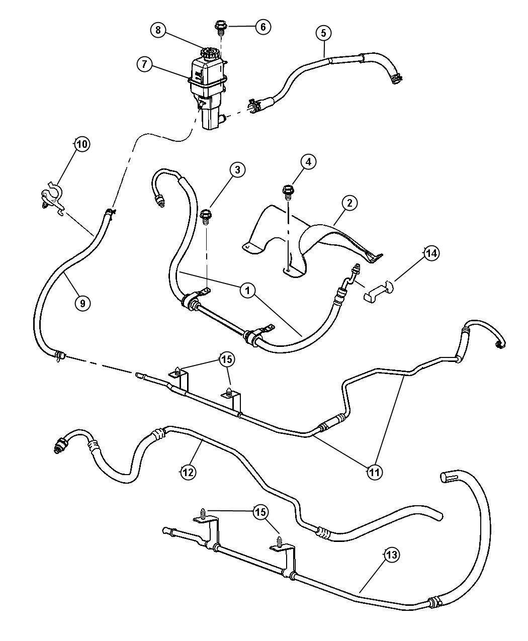 Chrysler Sebring Hose Power Steering Reservoir Return