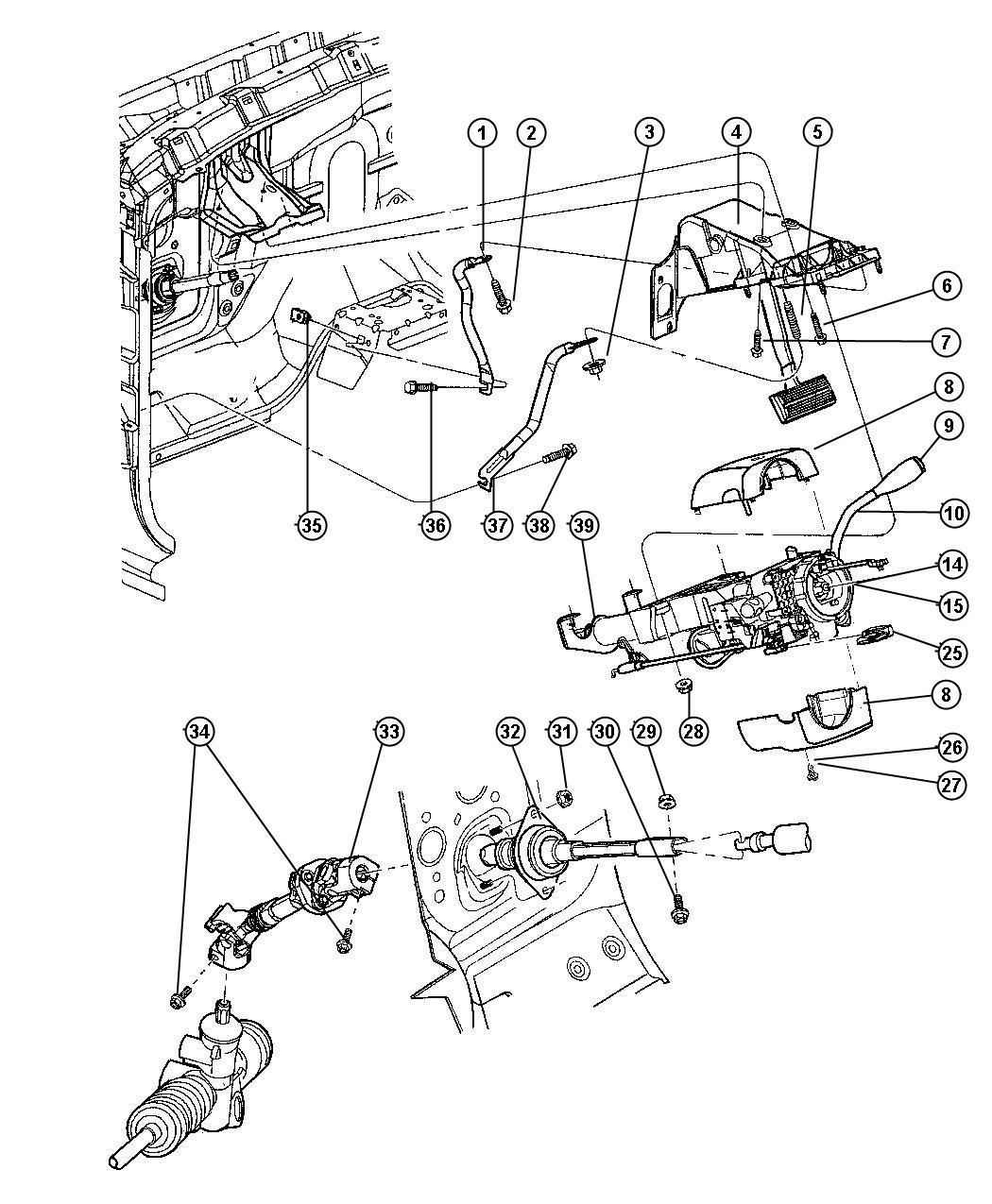 Dodge Dakota Bracket Gearshift Intermittentsteering