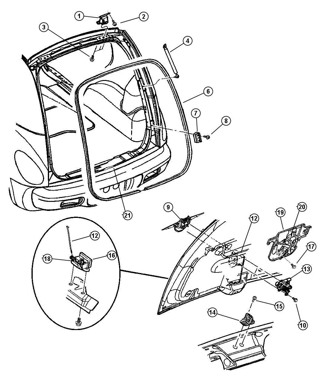 Chrysler Pt Cruiser Bezel Handle Liftgate Pullcup Dr